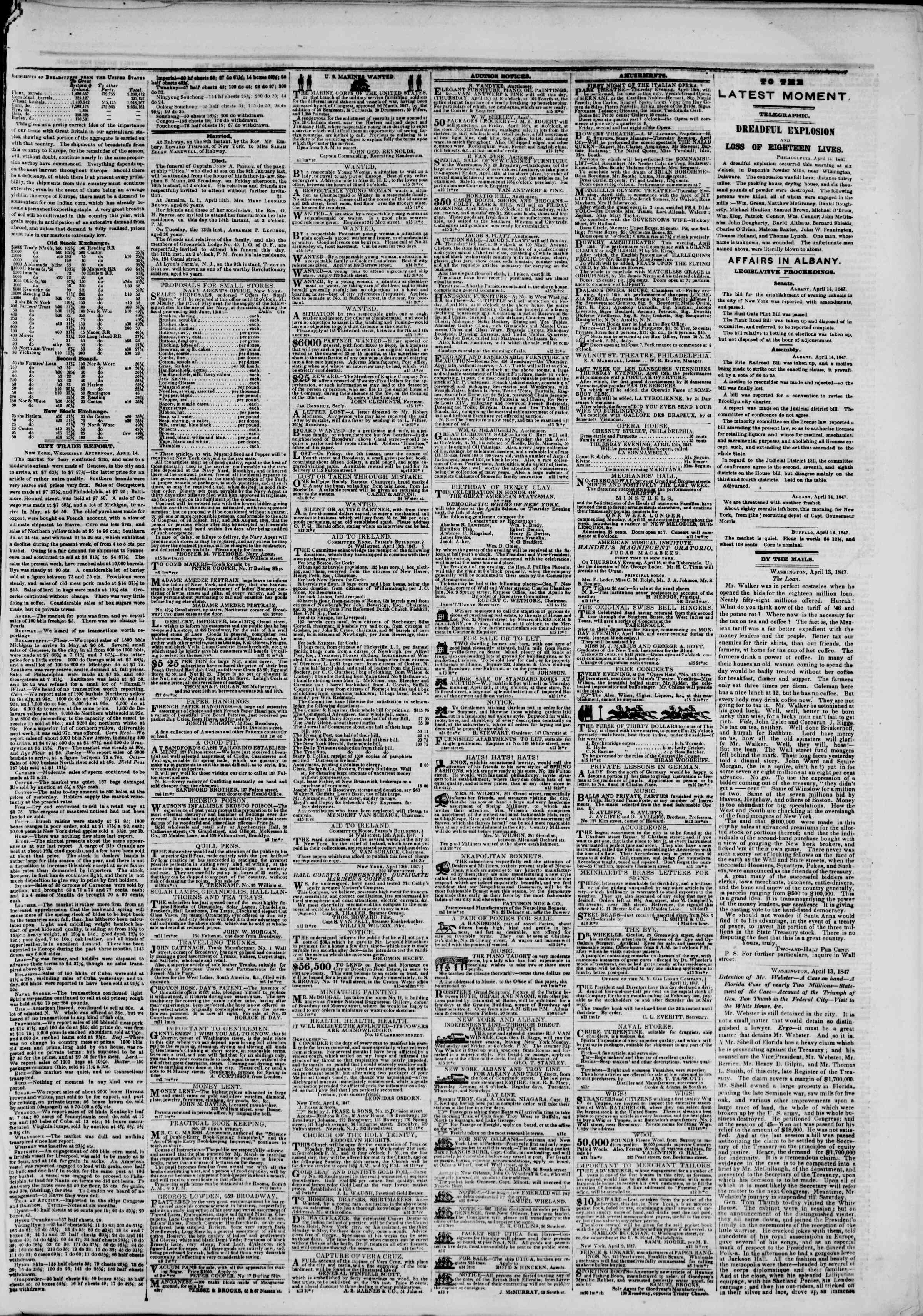 Newspaper of The New York Herald dated April 15, 1847 Page 5