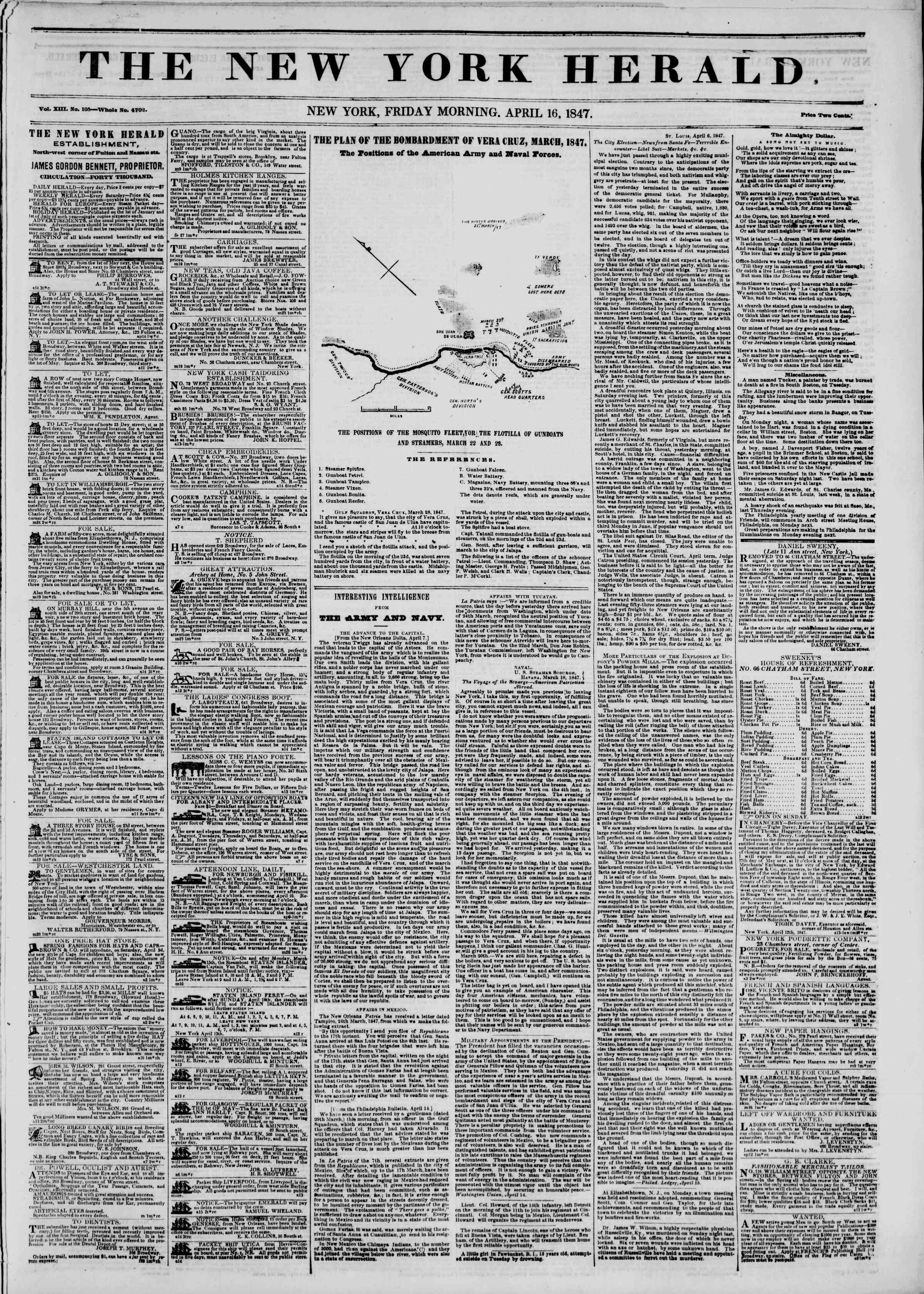 Newspaper of The New York Herald dated April 16, 1847 Page 1