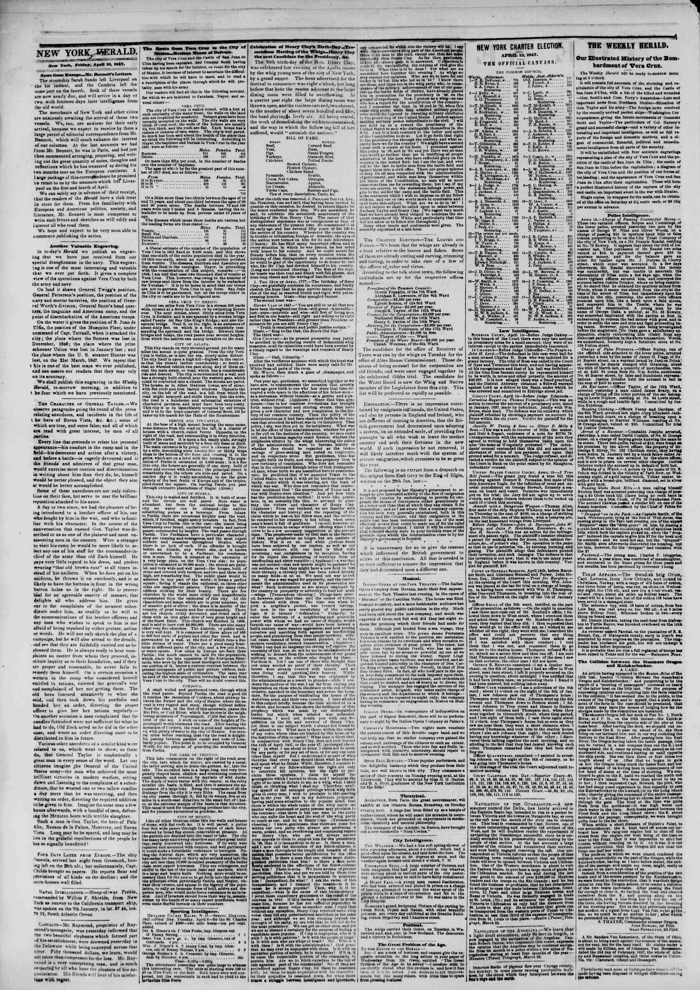 Newspaper of The New York Herald dated April 16, 1847 Page 2