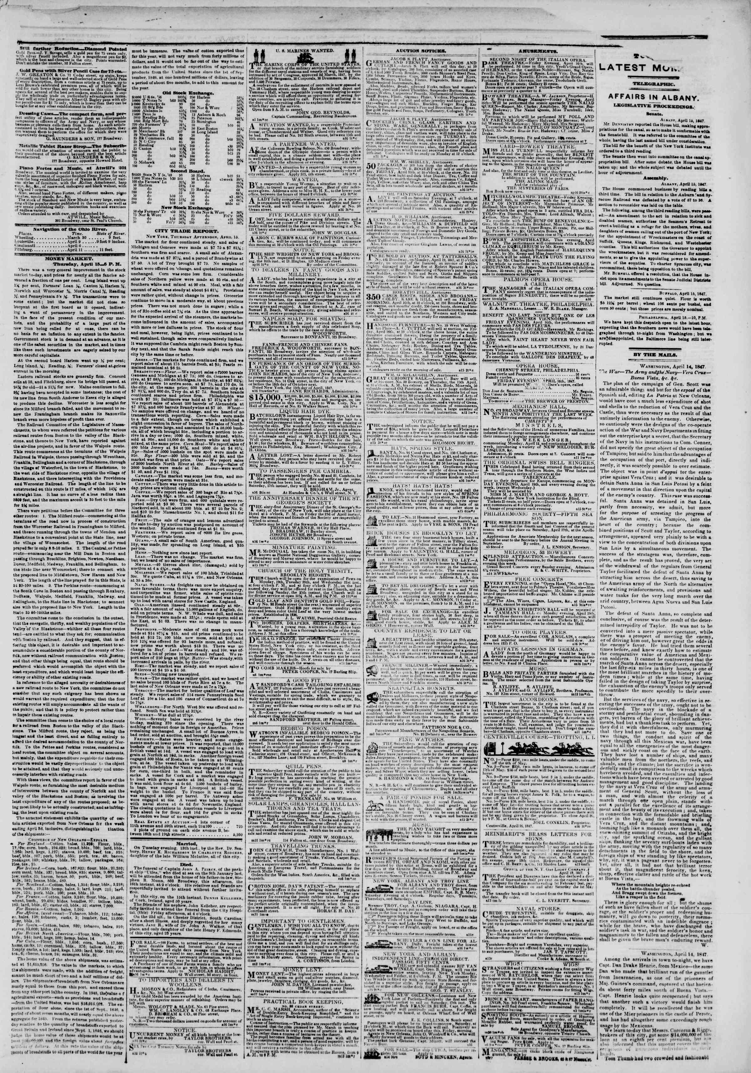 Newspaper of The New York Herald dated April 16, 1847 Page 3