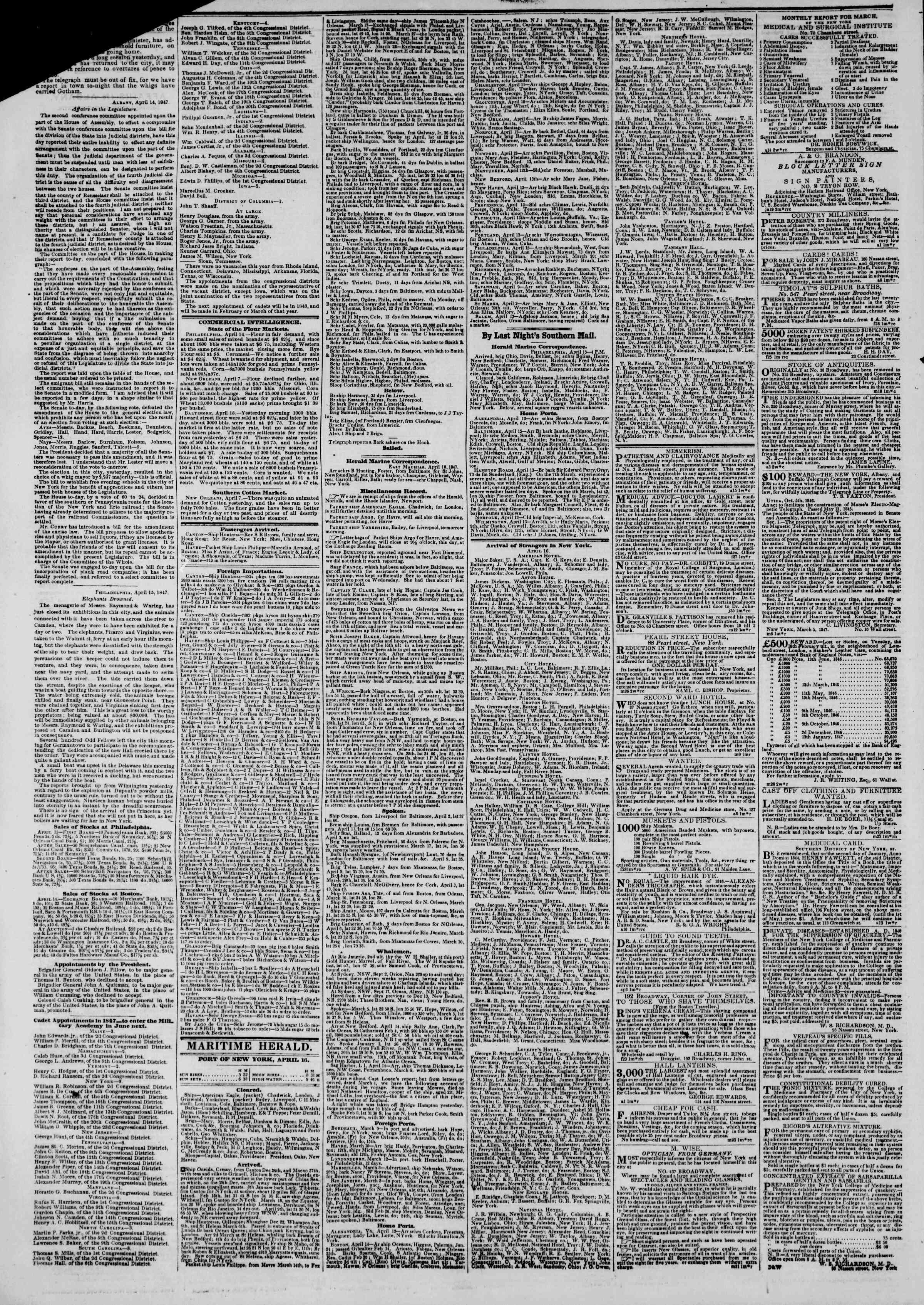 Newspaper of The New York Herald dated April 16, 1847 Page 4