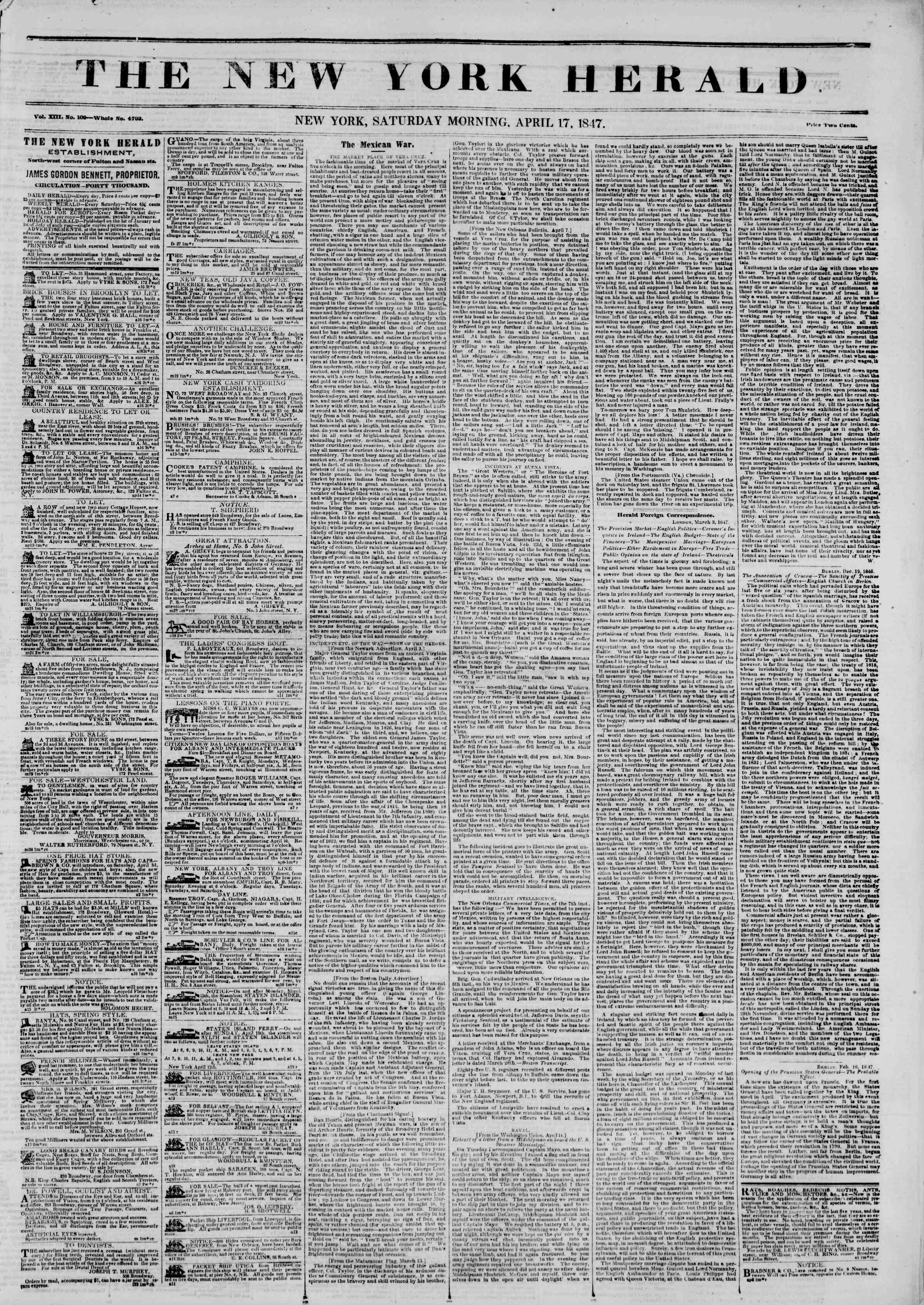 Newspaper of The New York Herald dated April 17, 1847 Page 1