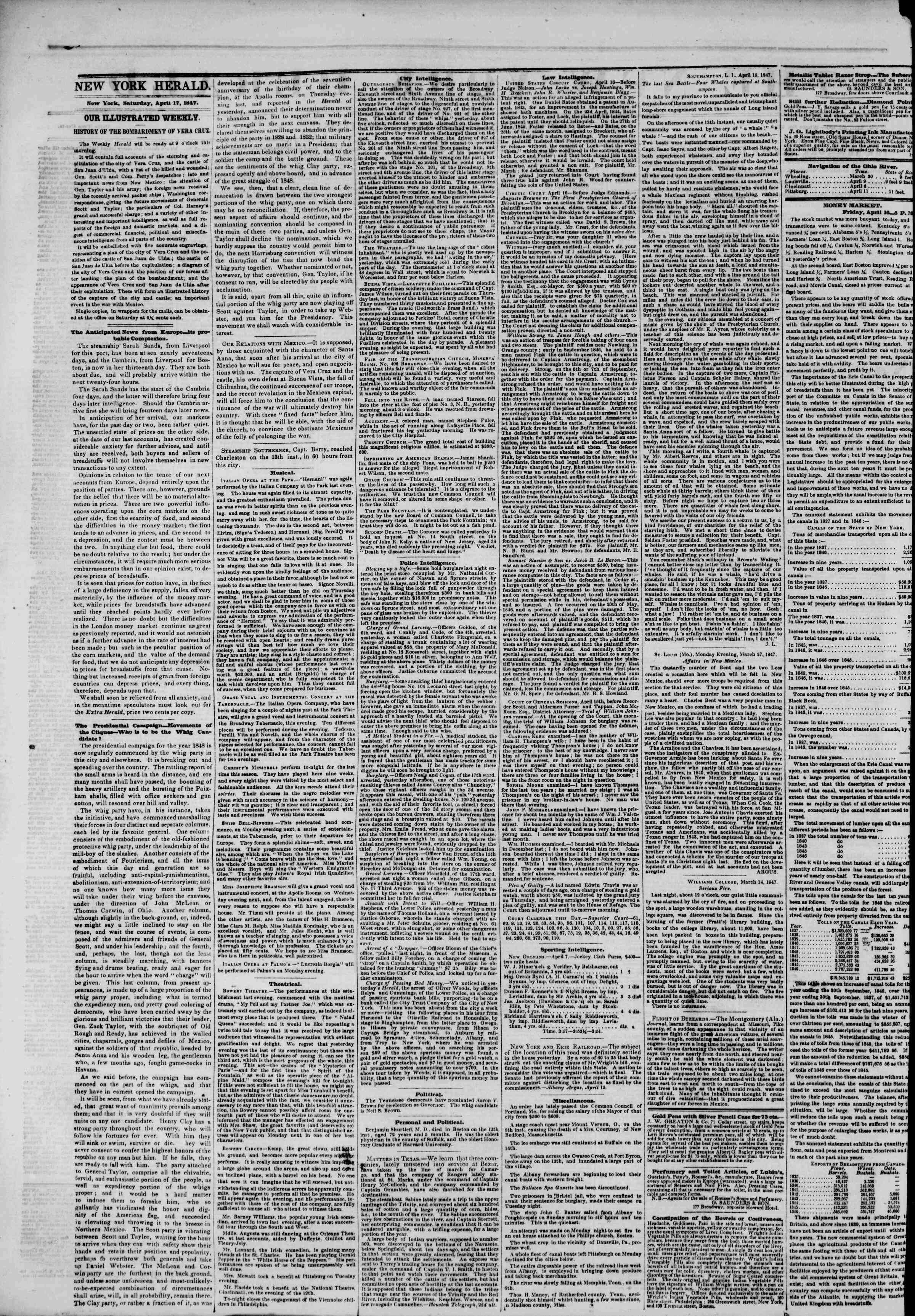 Newspaper of The New York Herald dated April 17, 1847 Page 2