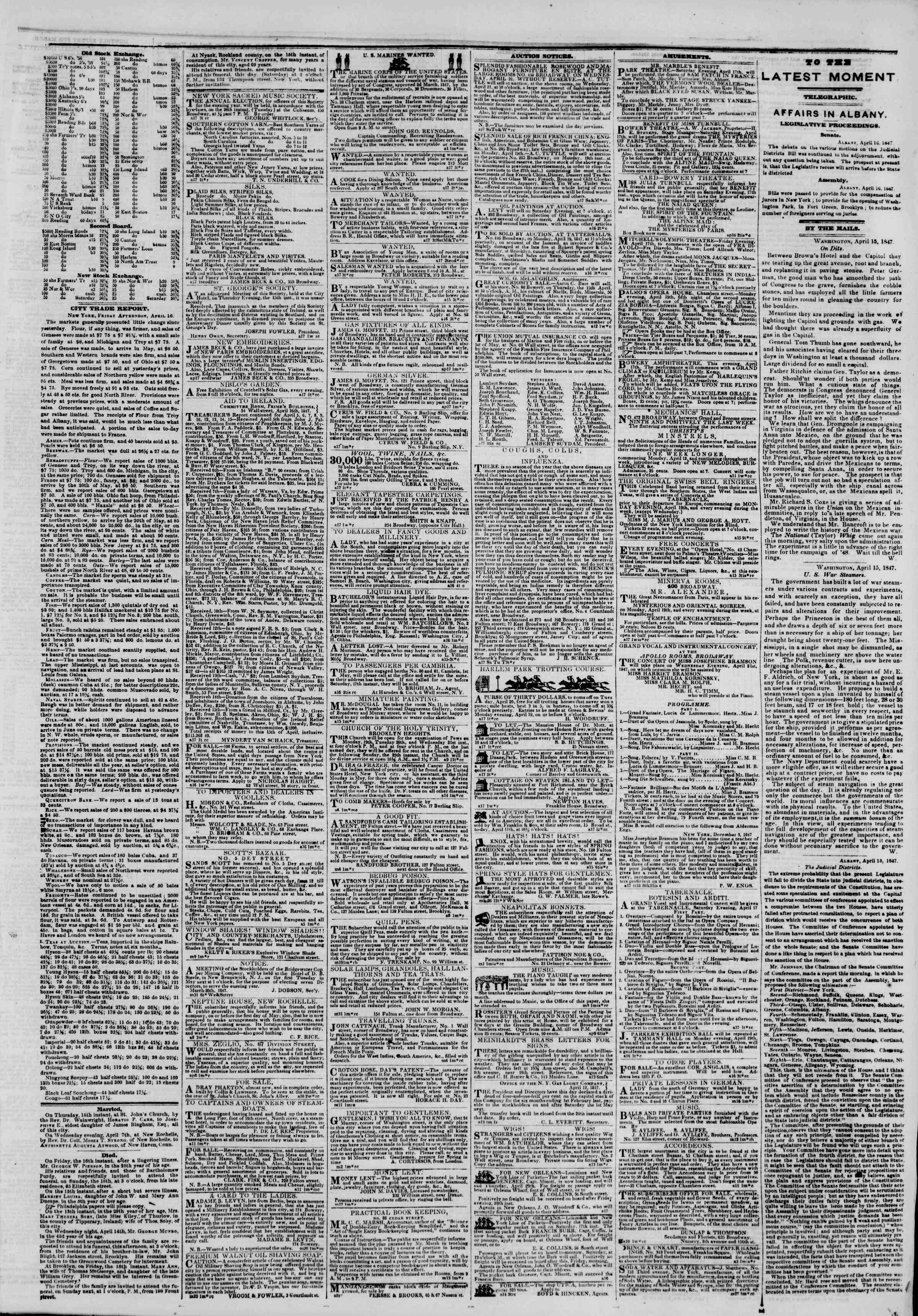 Newspaper of The New York Herald dated April 17, 1847 Page 3