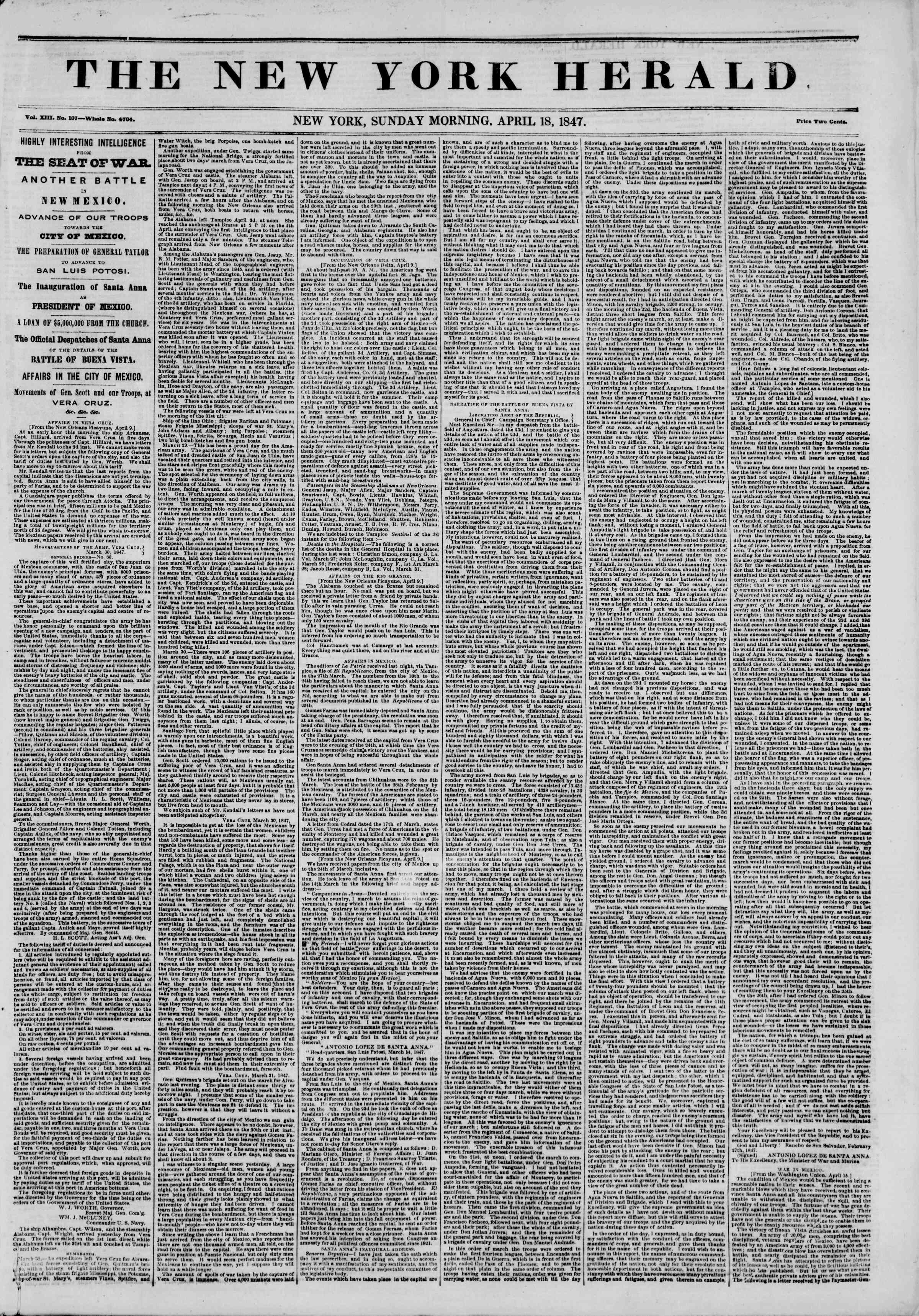 Newspaper of The New York Herald dated April 18, 1847 Page 1