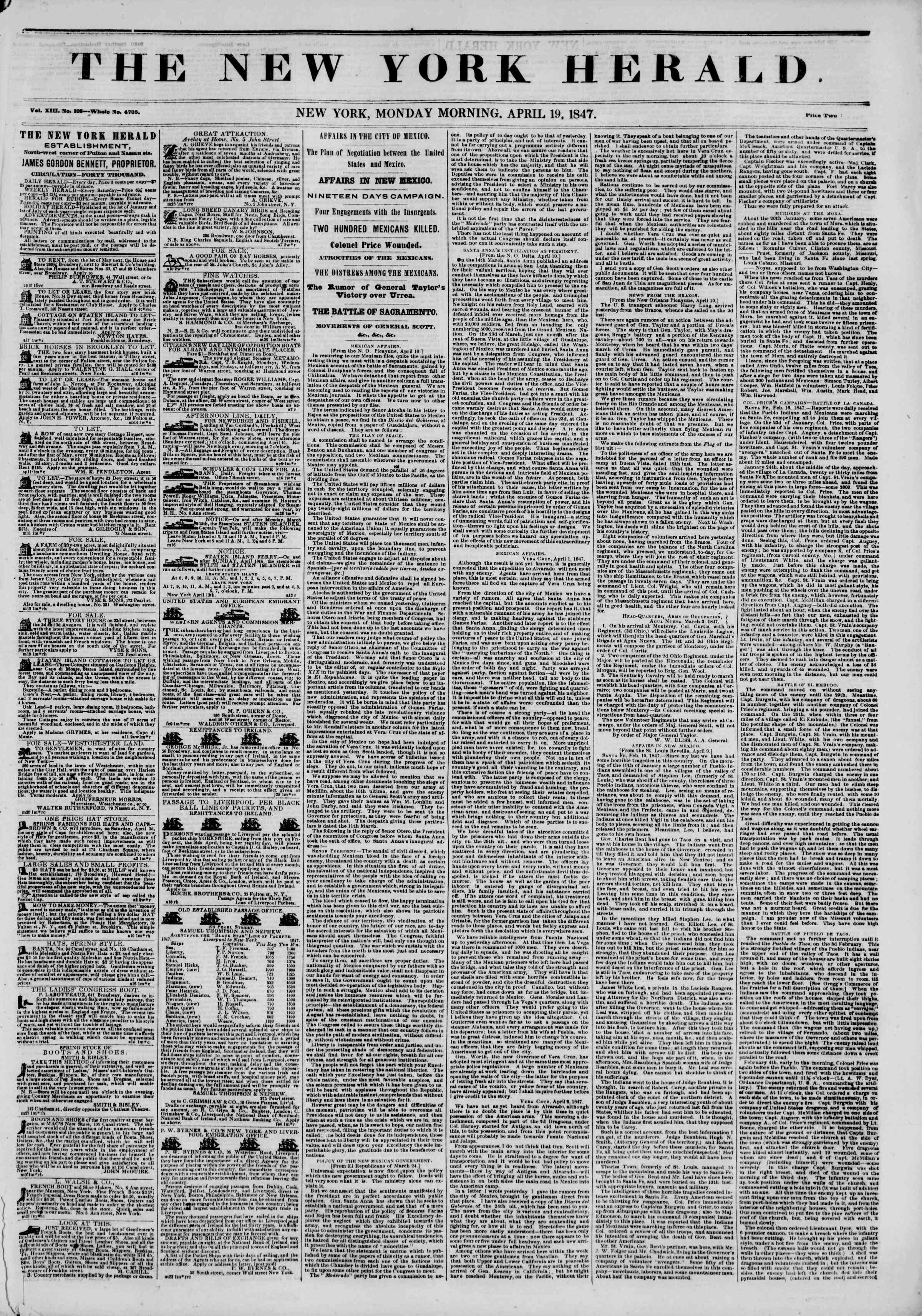 Newspaper of The New York Herald dated April 19, 1847 Page 1