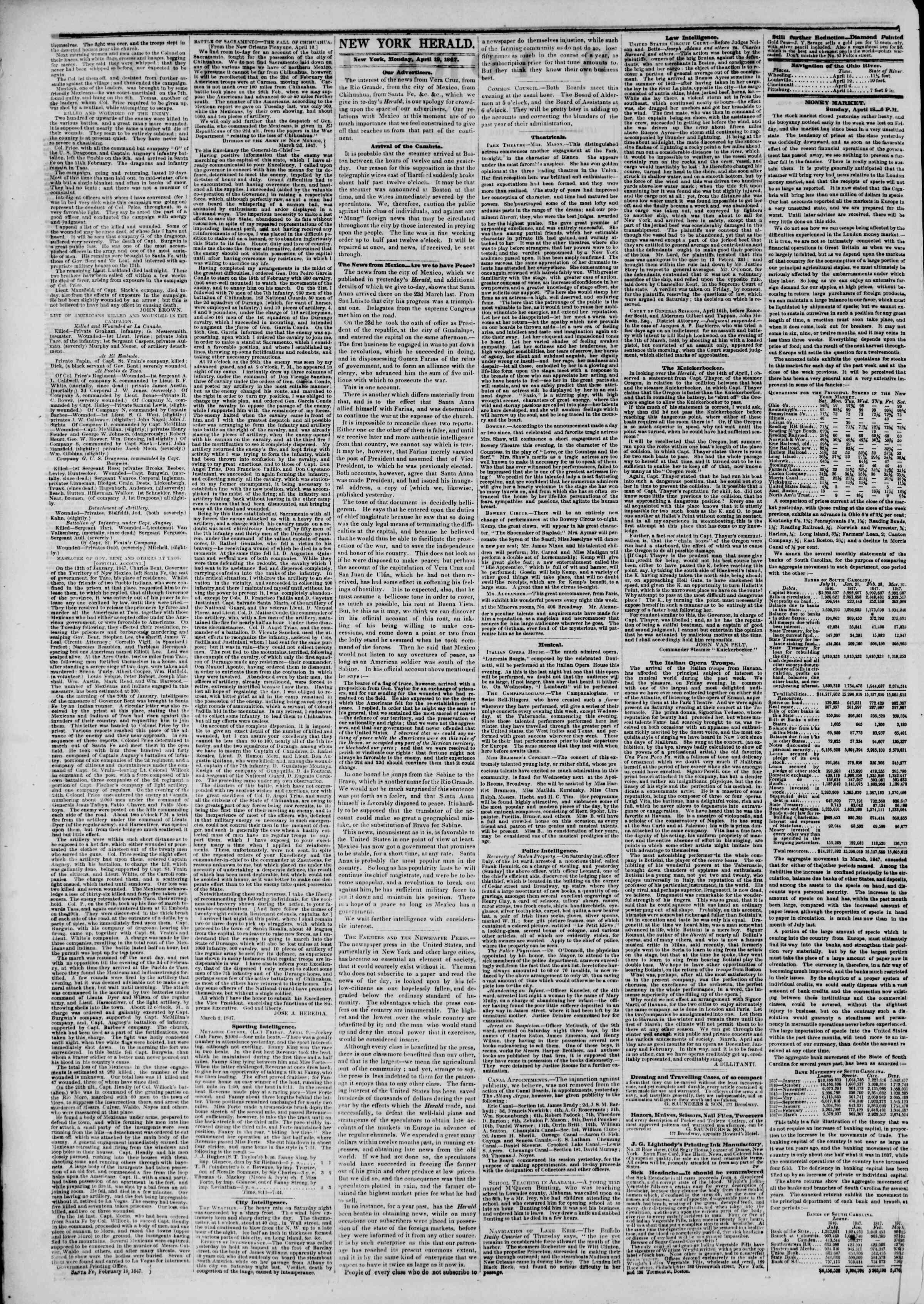 19 Nisan 1847 tarihli The New York Herald Gazetesi Sayfa 2