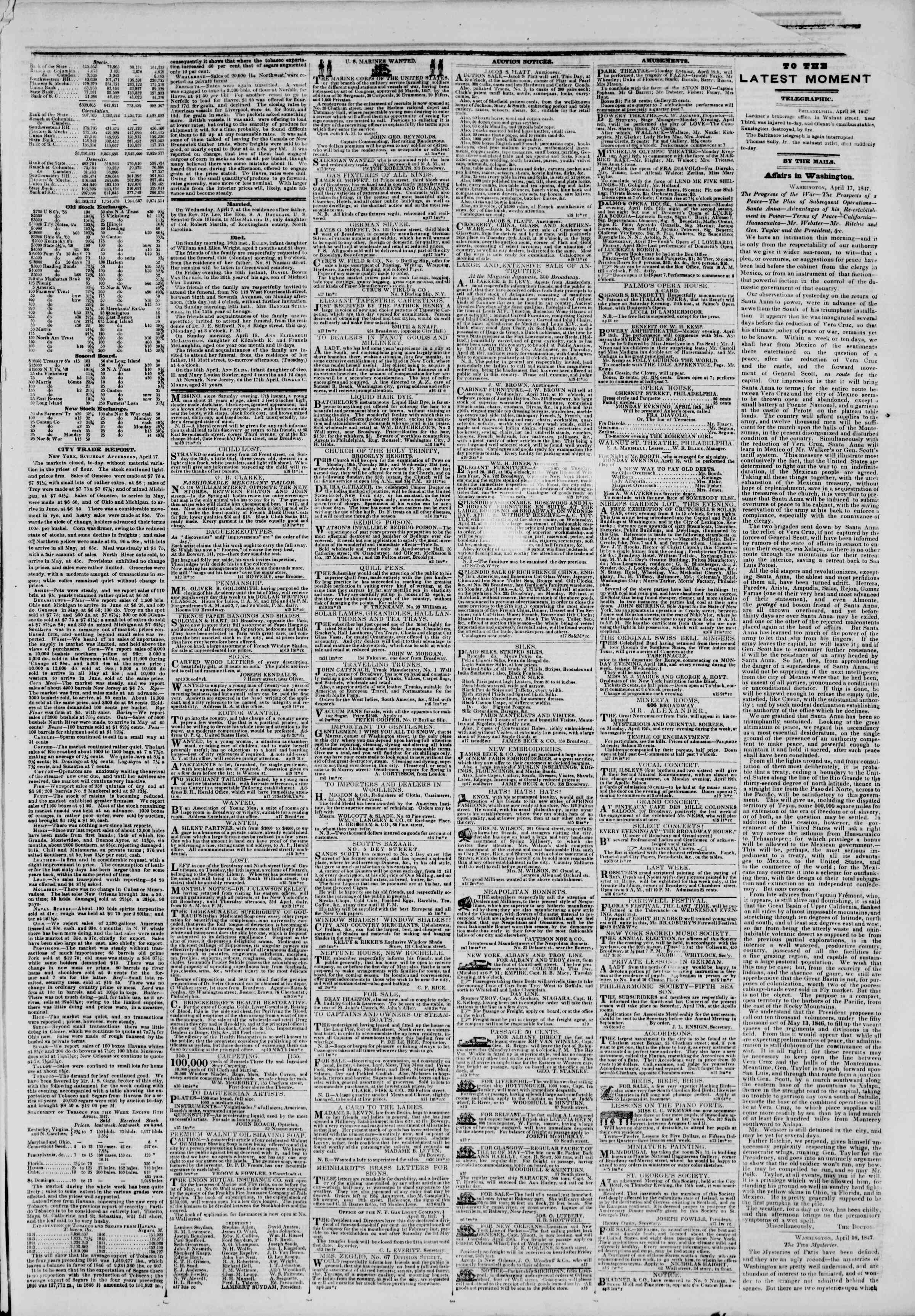 Newspaper of The New York Herald dated April 19, 1847 Page 3