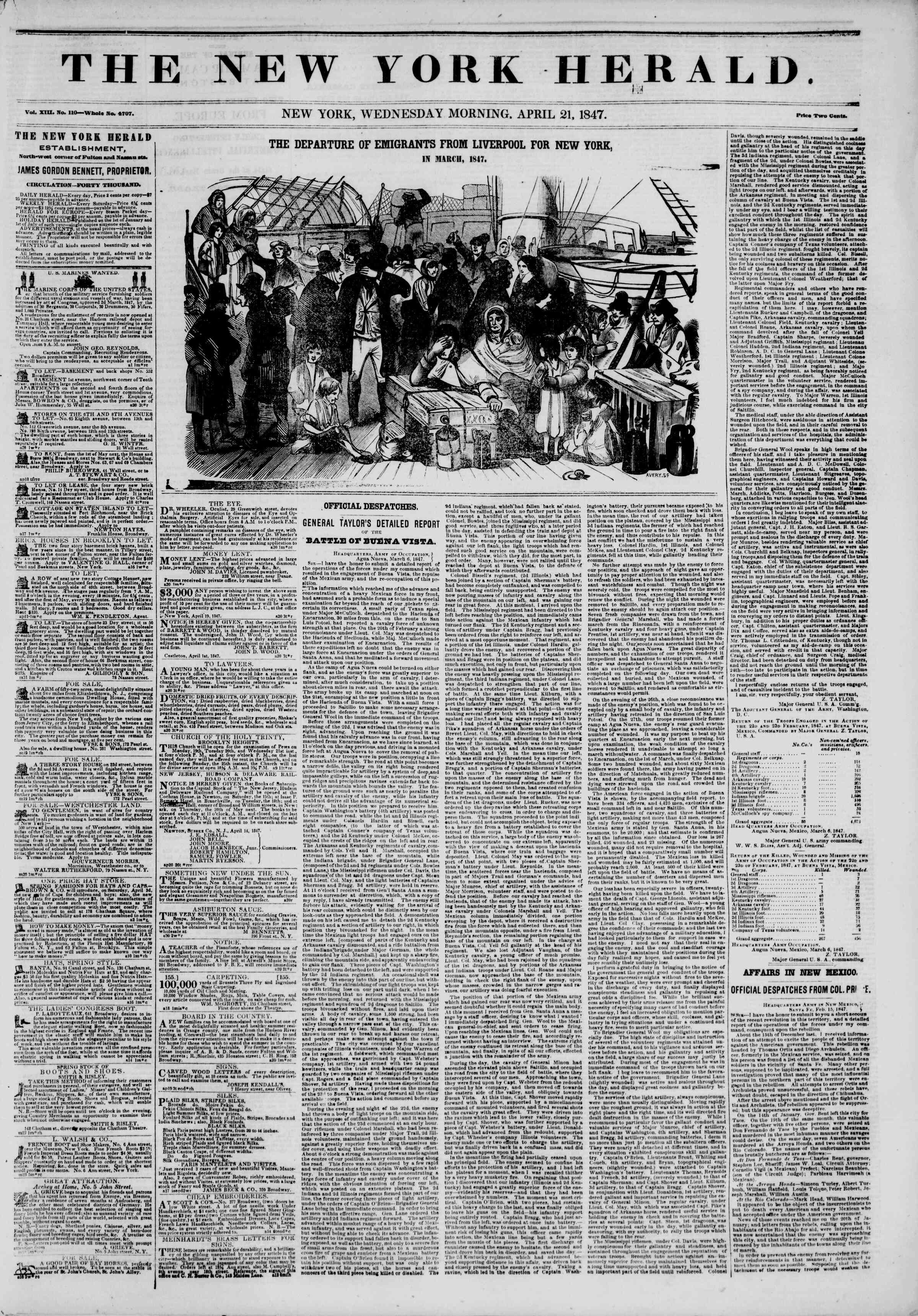 Newspaper of The New York Herald dated April 21, 1847 Page 1