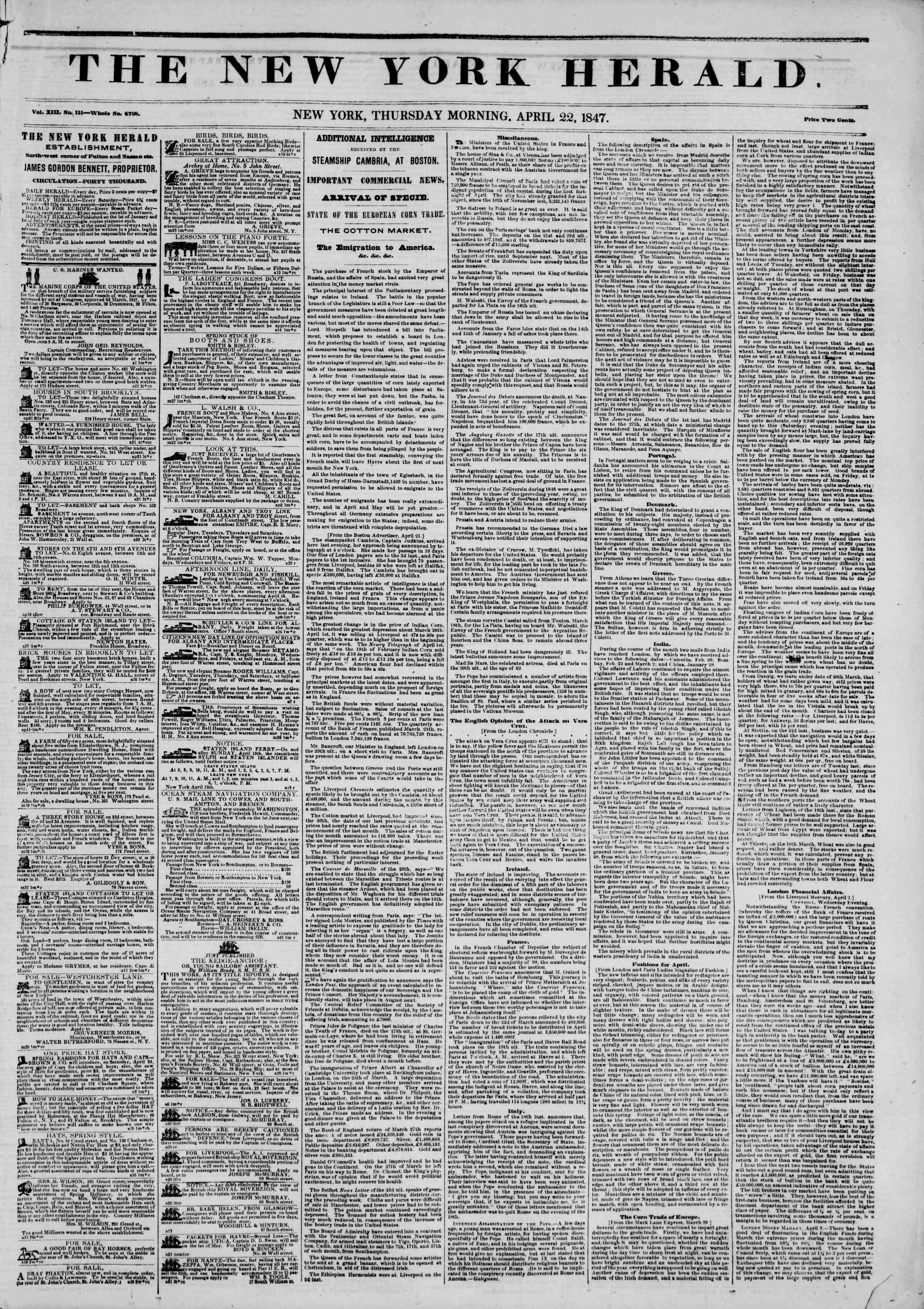 Newspaper of The New York Herald dated 22 Nisan 1847 Page 1