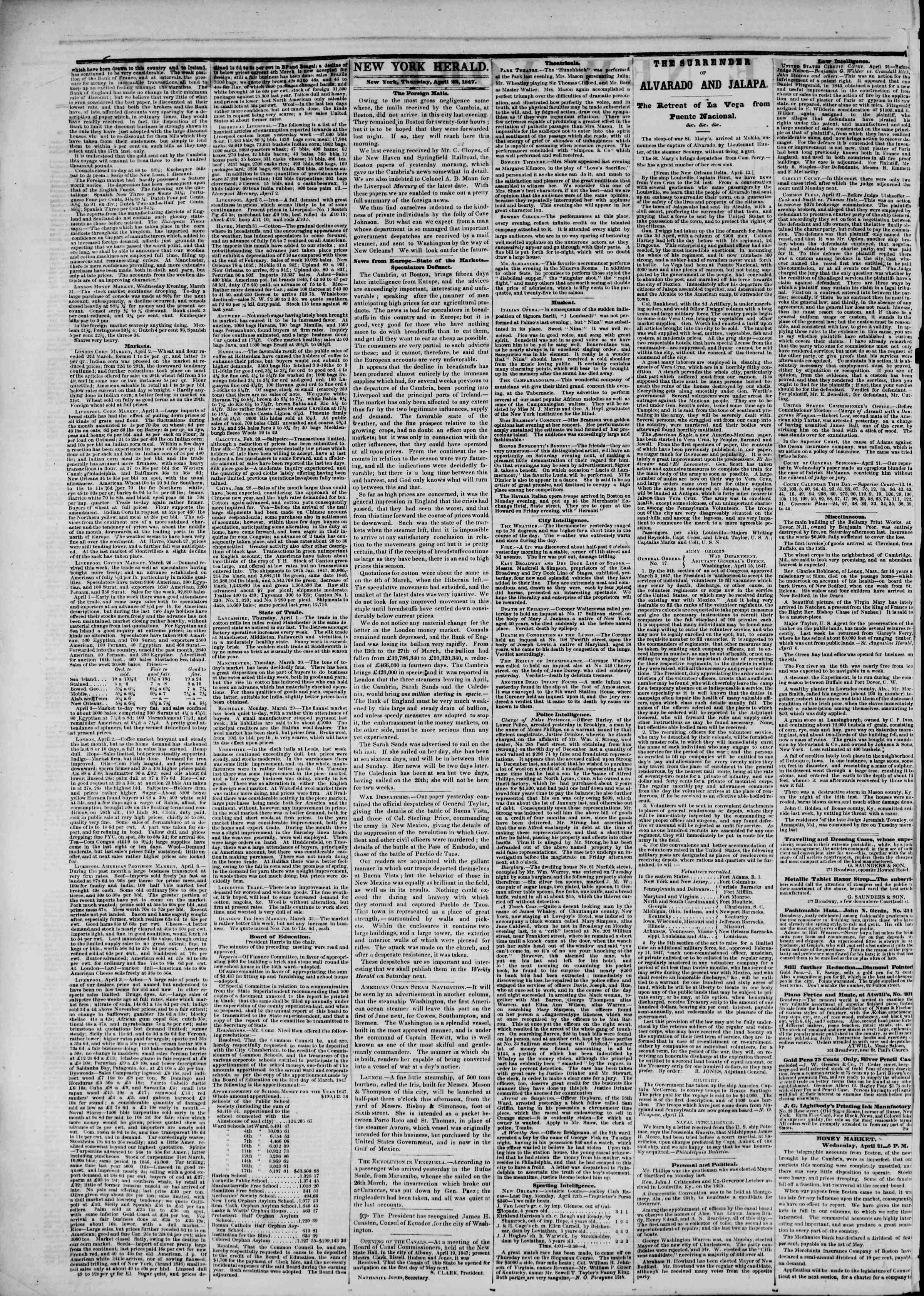 Newspaper of The New York Herald dated April 22, 1847 Page 2