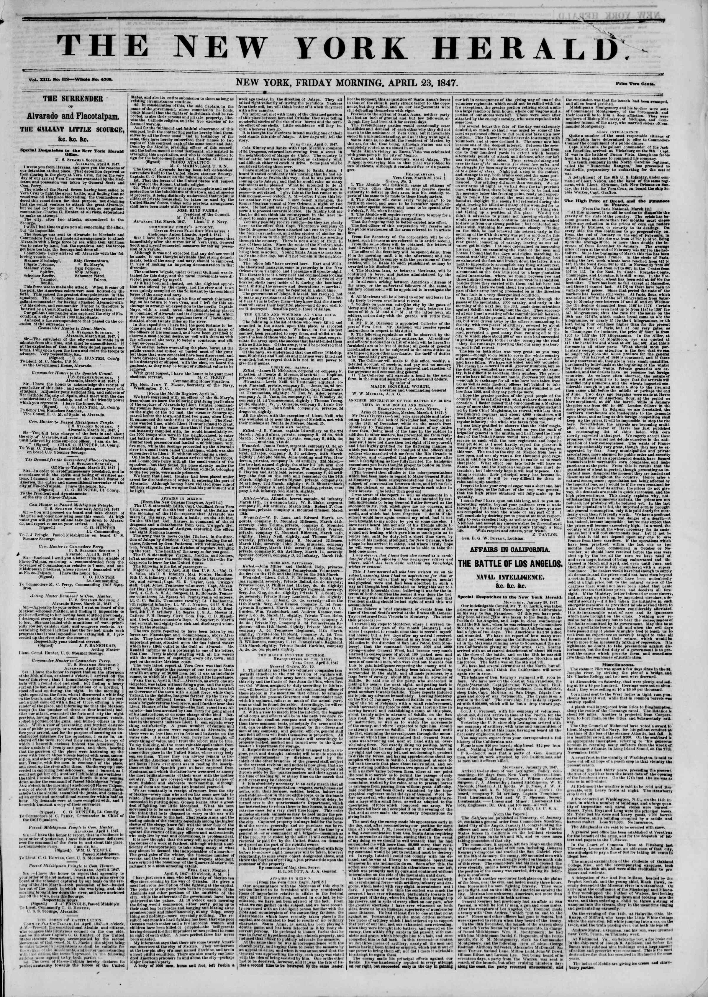 Newspaper of The New York Herald dated 23 Nisan 1847 Page 1