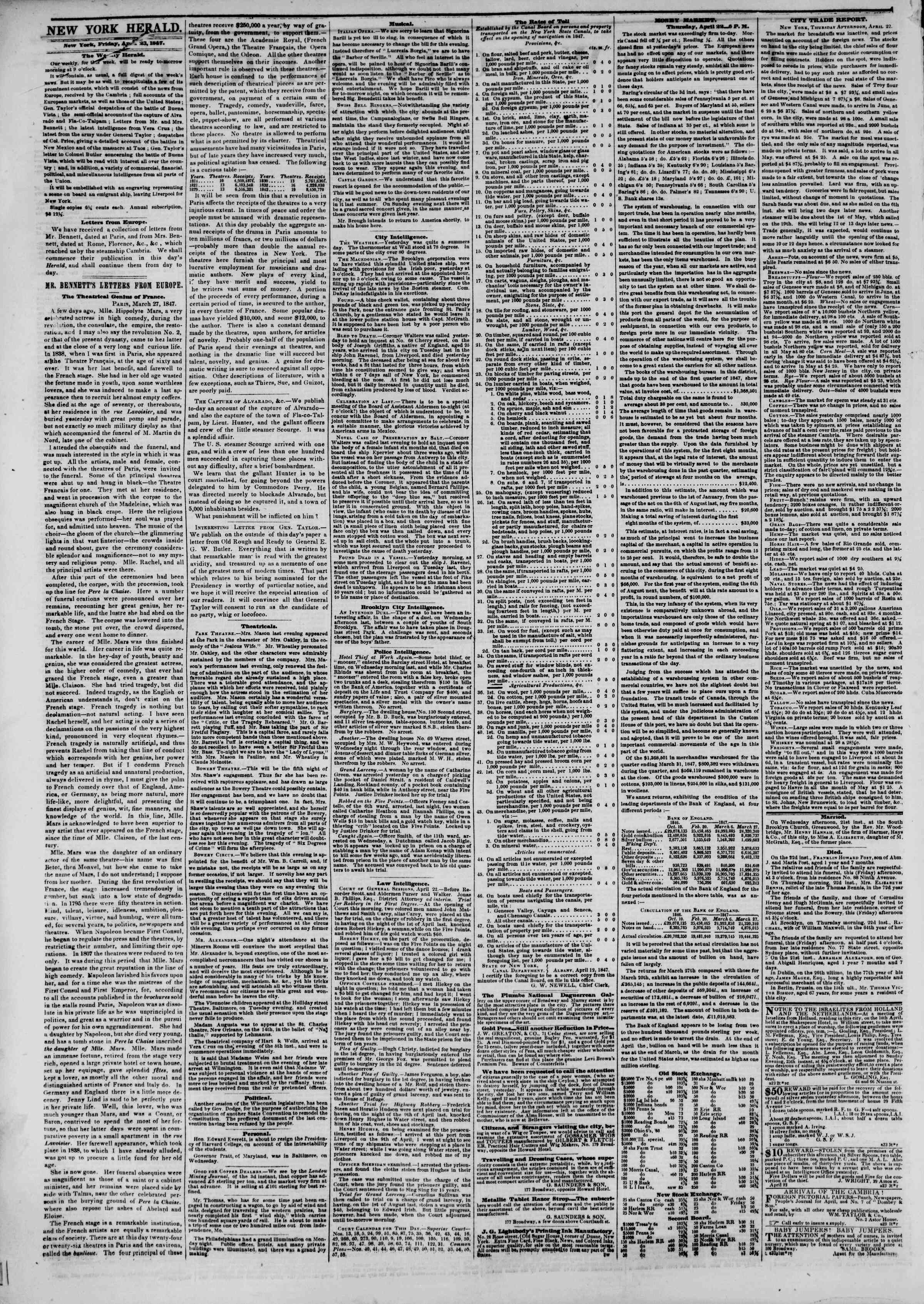 Newspaper of The New York Herald dated April 23, 1847 Page 2