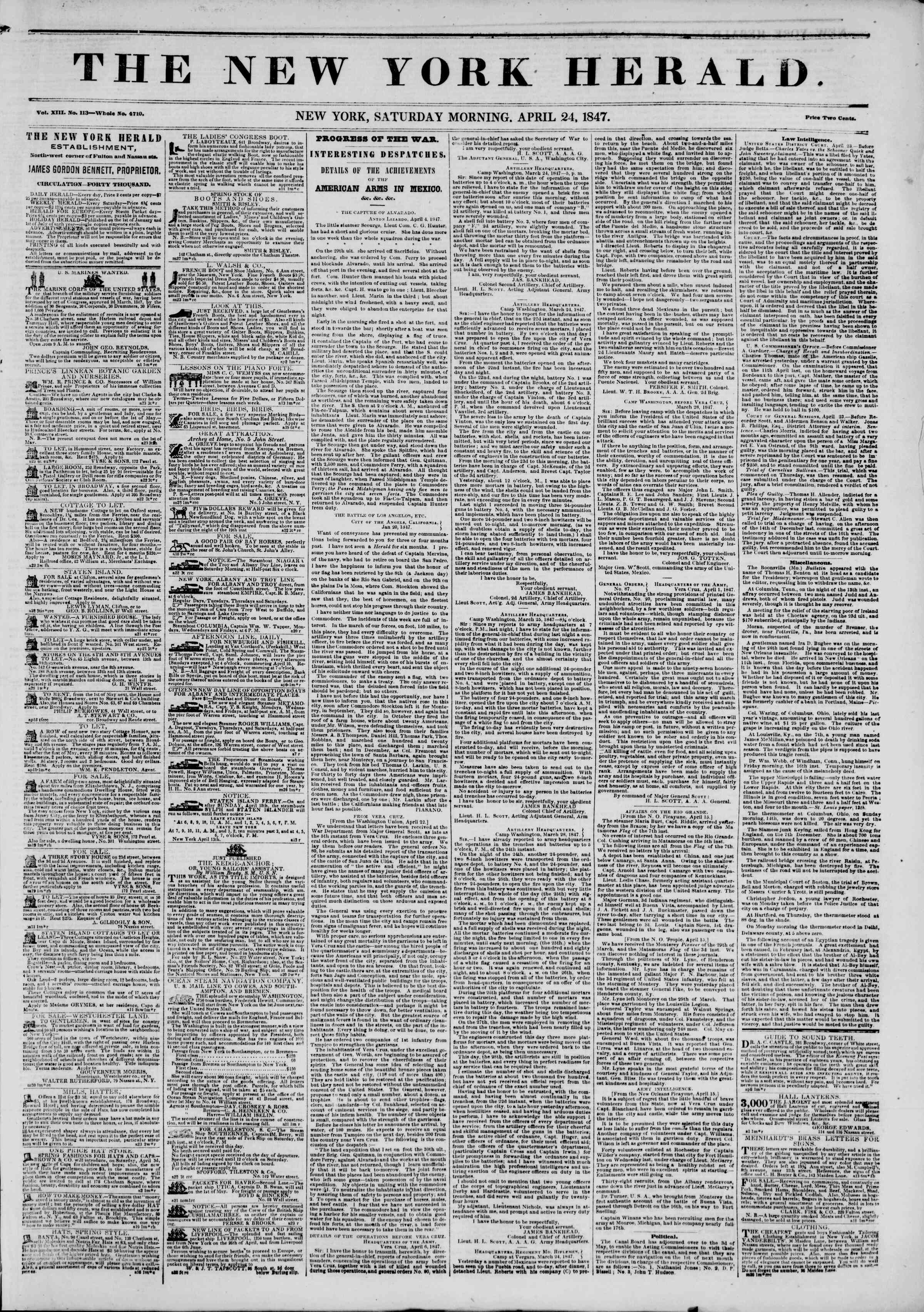 Newspaper of The New York Herald dated April 24, 1847 Page 1