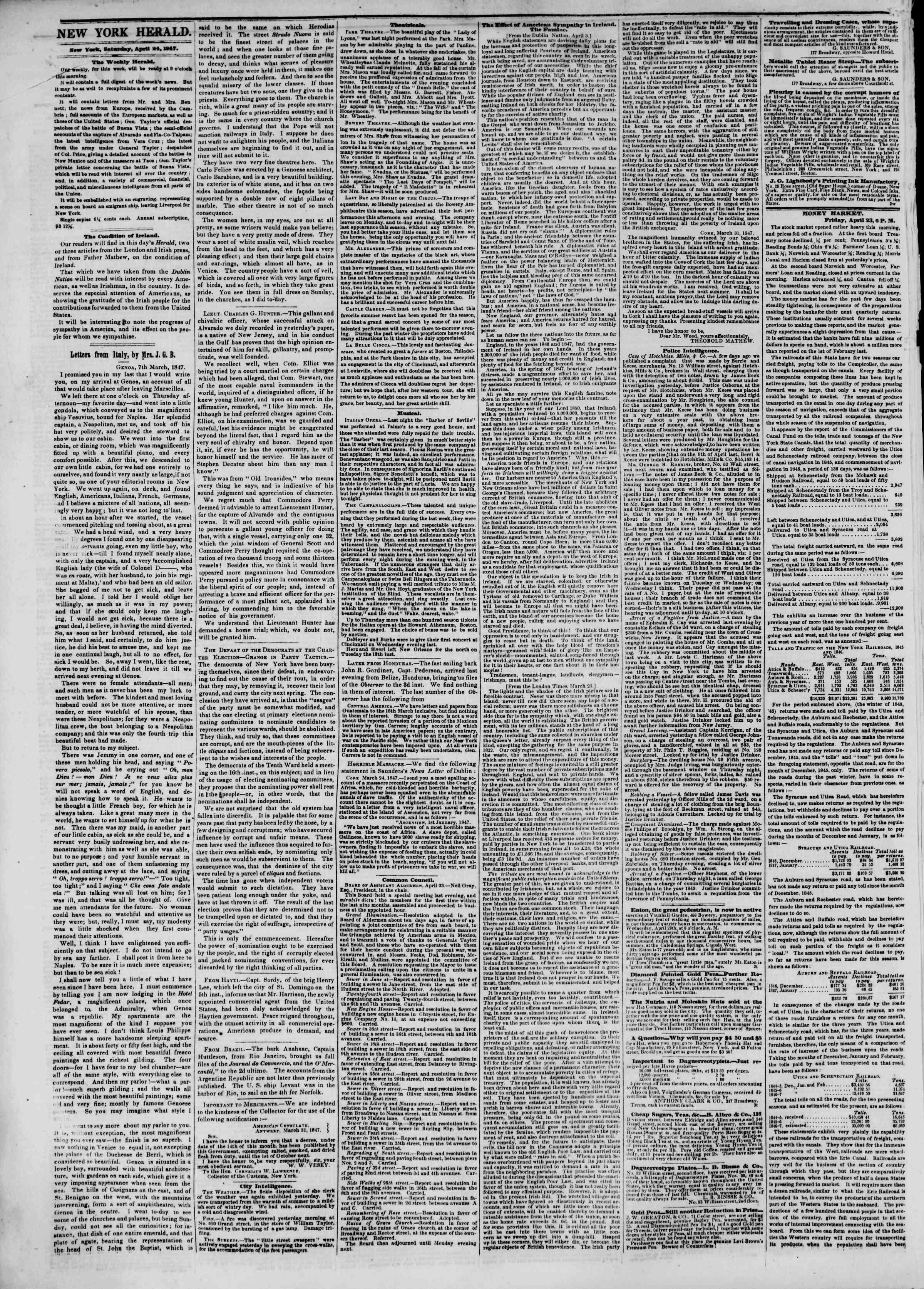 24 Nisan 1847 tarihli The New York Herald Gazetesi Sayfa 2