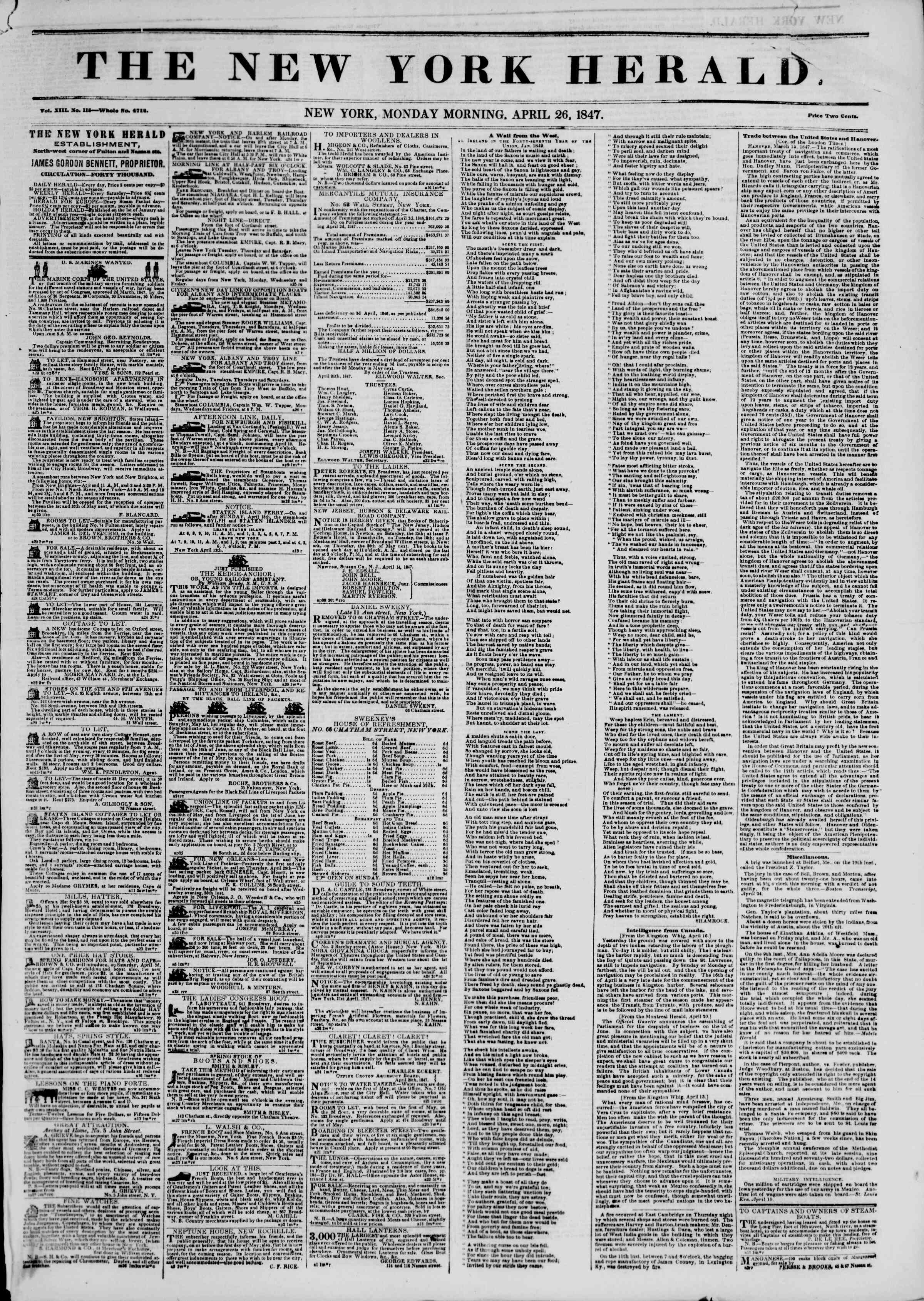 Newspaper of The New York Herald dated April 26, 1847 Page 1