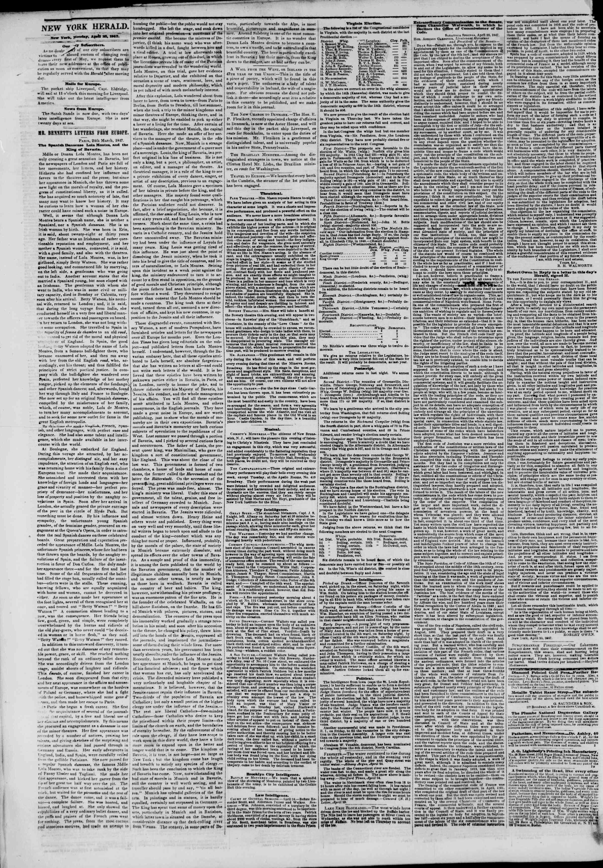 Newspaper of The New York Herald dated April 26, 1847 Page 2