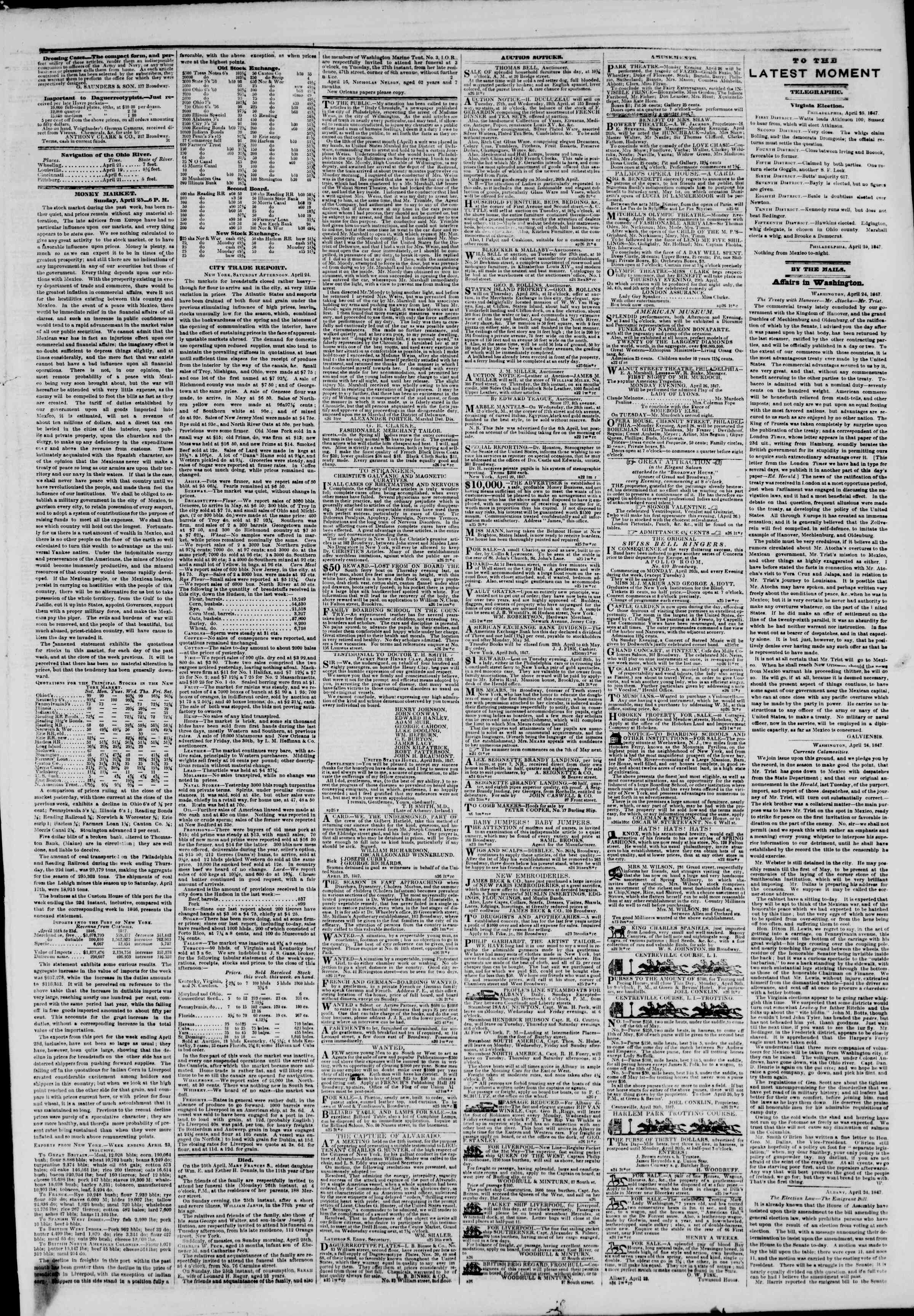Newspaper of The New York Herald dated April 26, 1847 Page 3