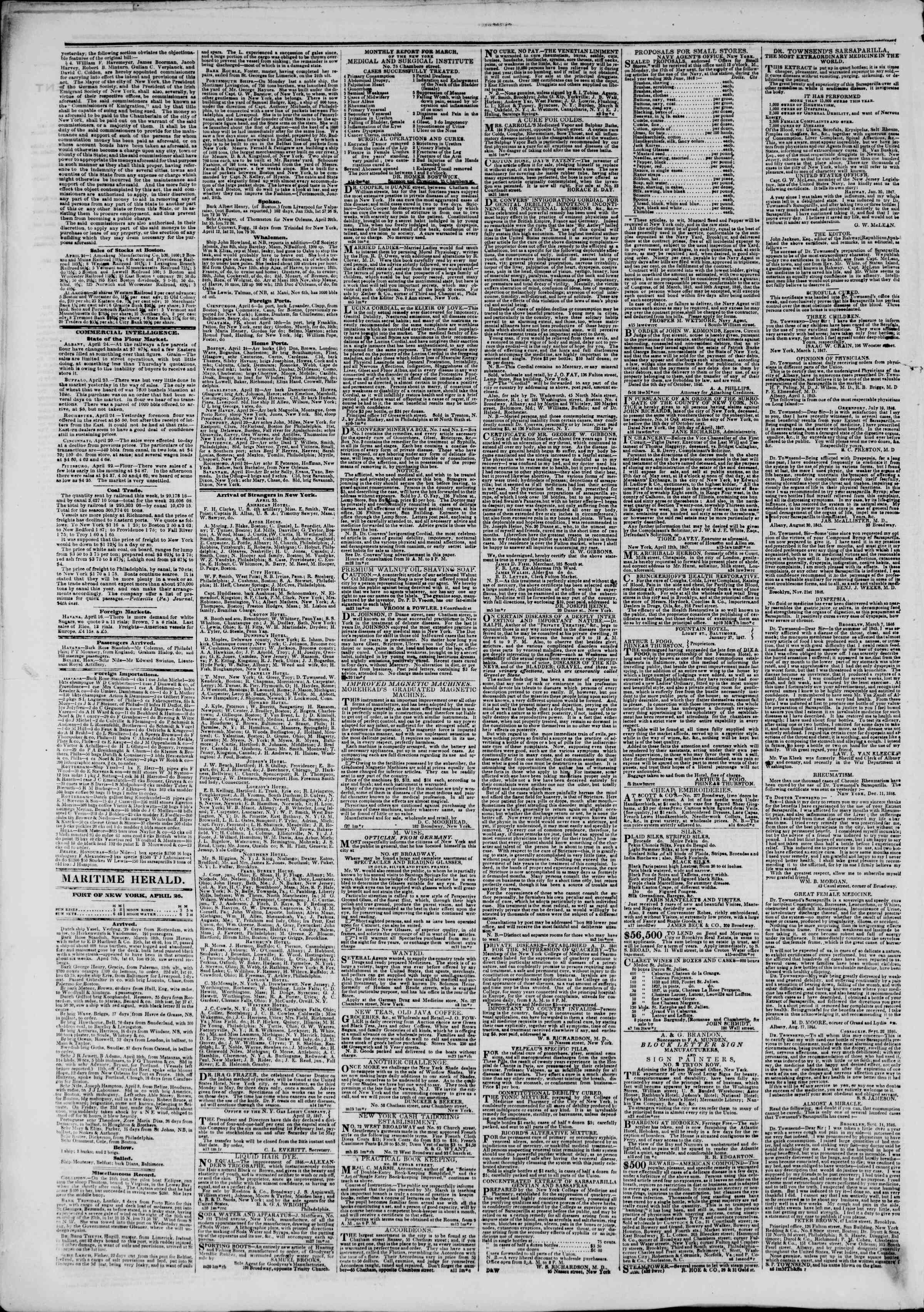 Newspaper of The New York Herald dated April 26, 1847 Page 4