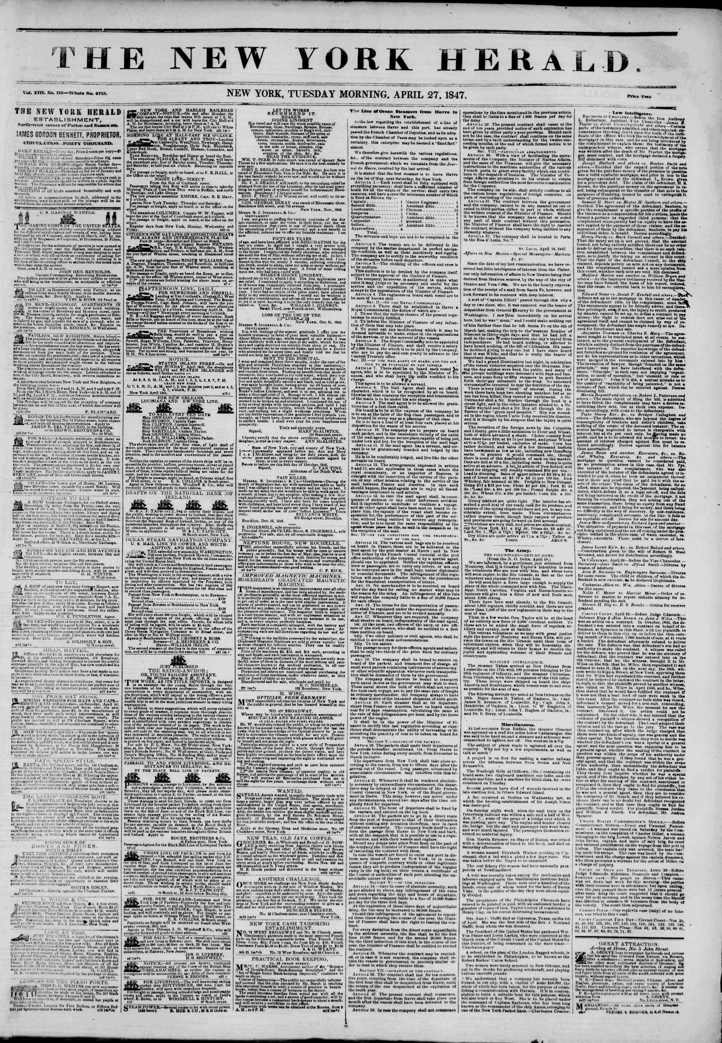 Newspaper of The New York Herald dated April 27, 1847 Page 1