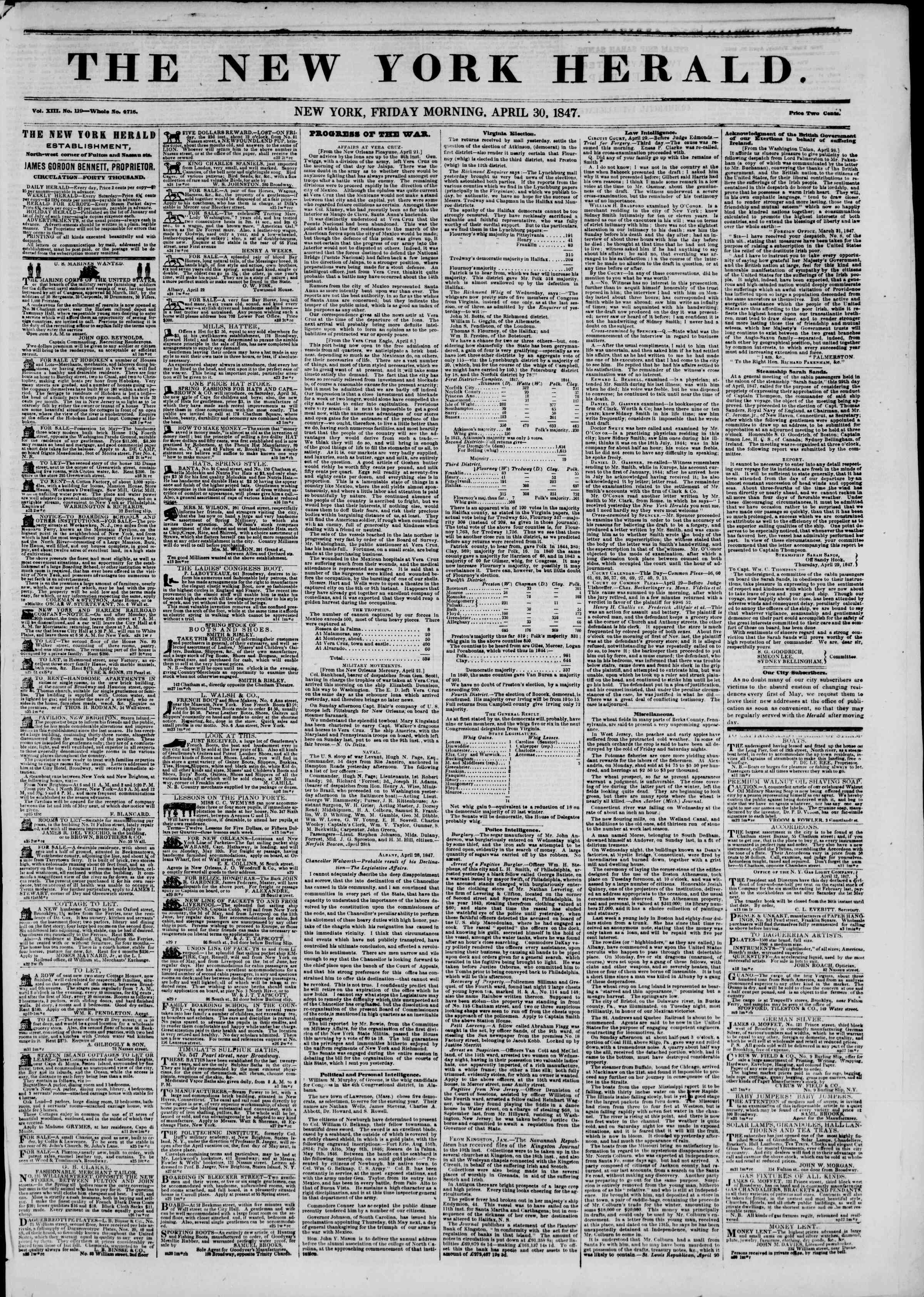 Newspaper of The New York Herald dated April 30, 1847 Page 1