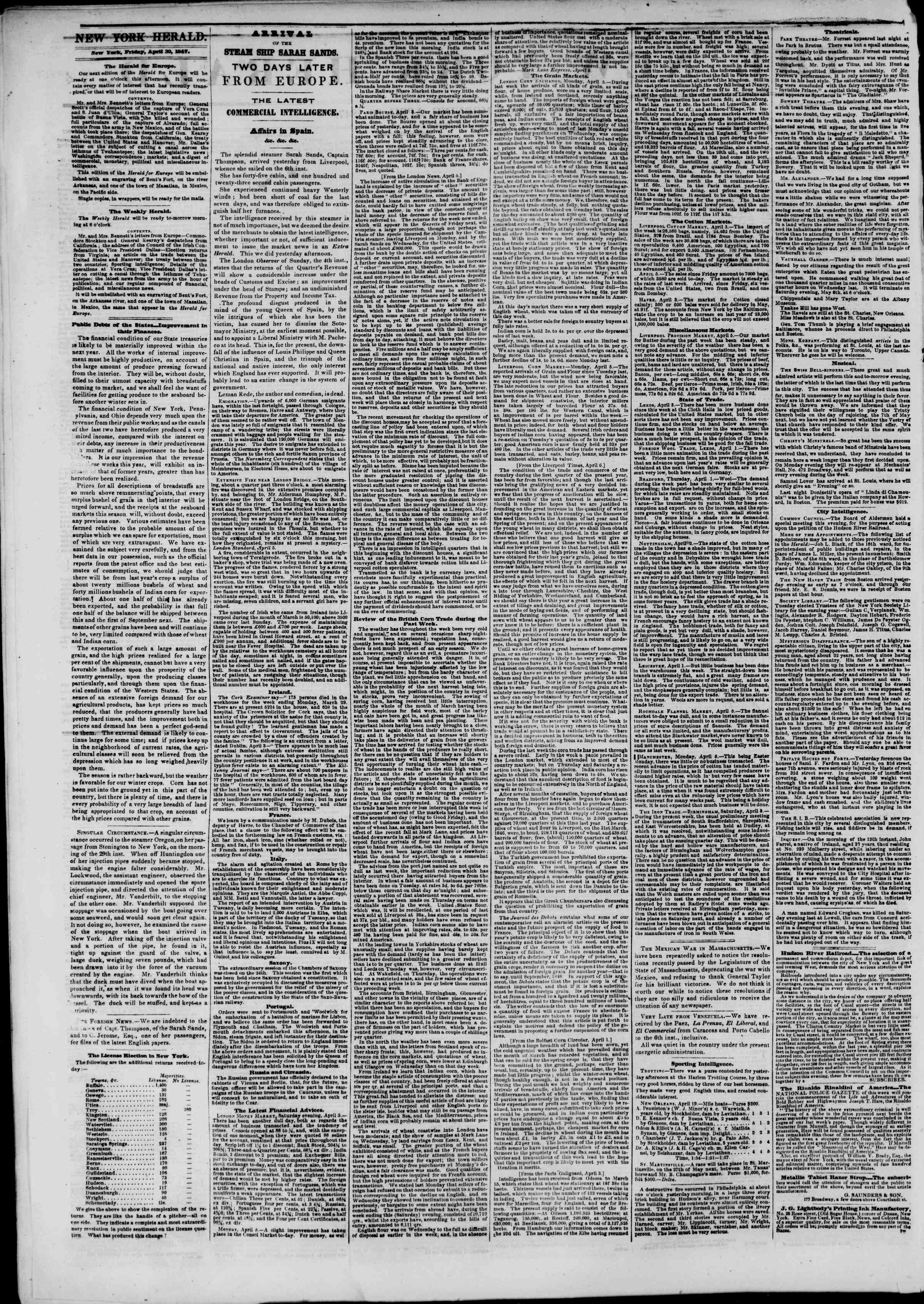 Newspaper of The New York Herald dated April 30, 1847 Page 2