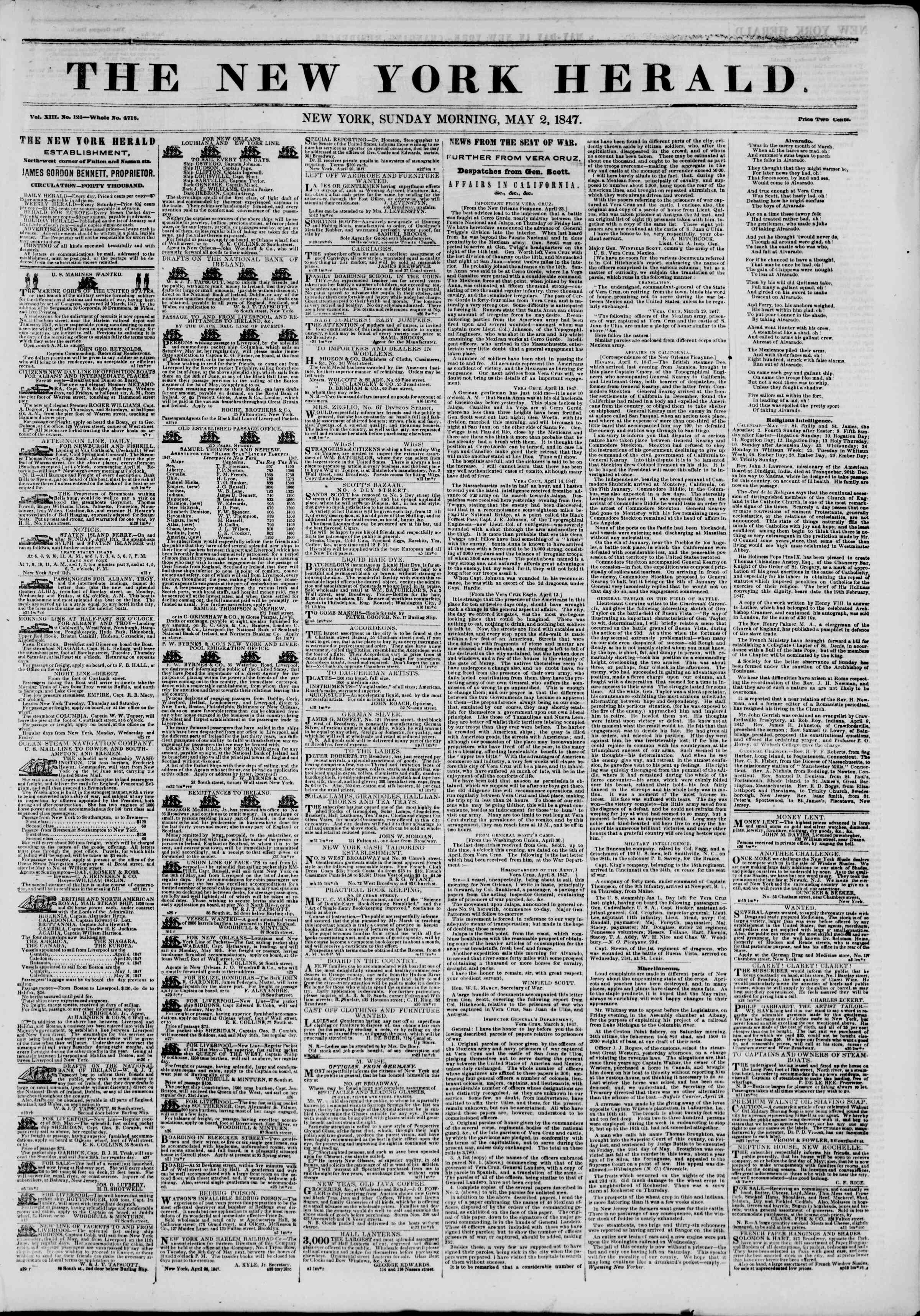 Newspaper of The New York Herald dated May 2, 1847 Page 1