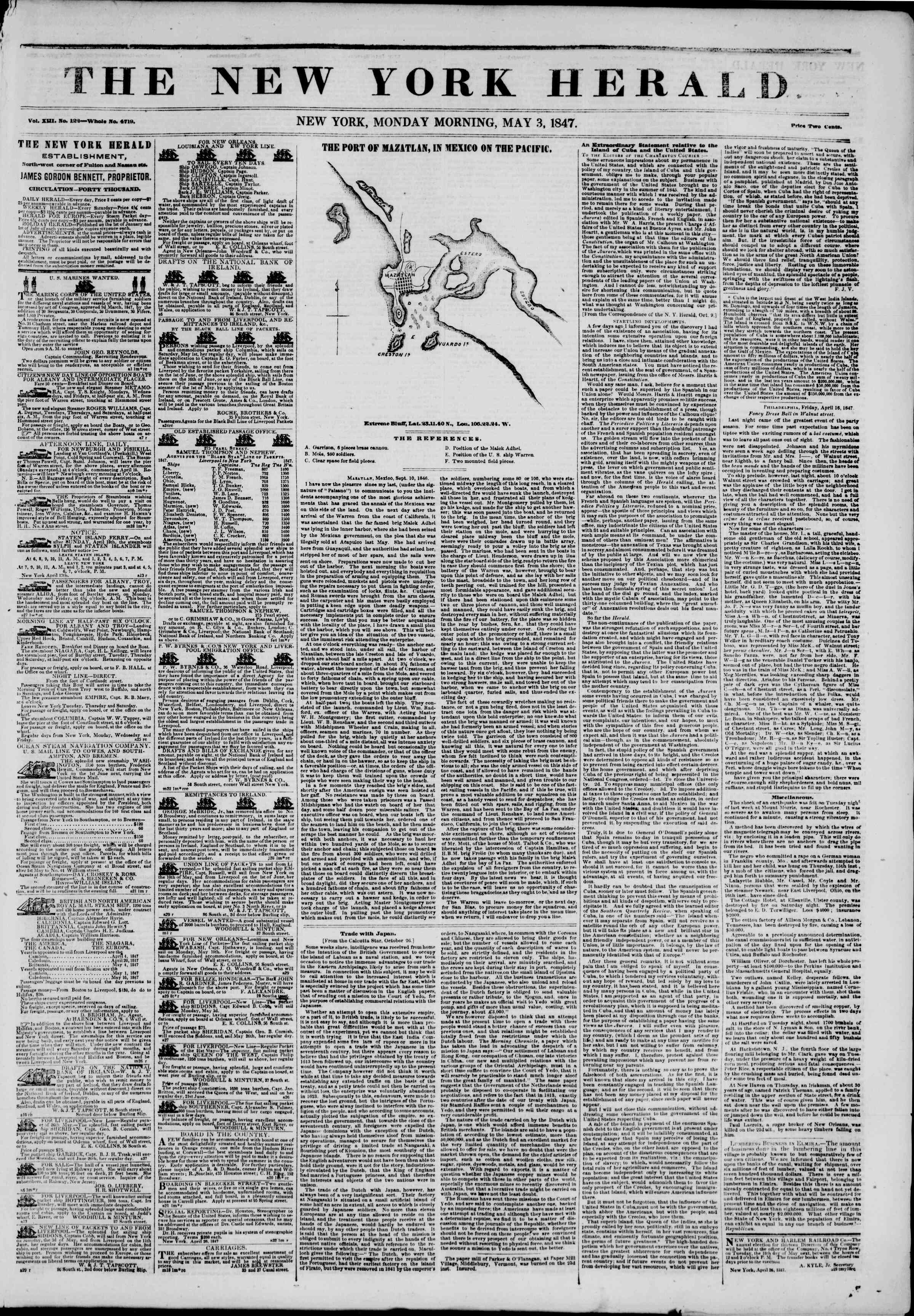 Newspaper of The New York Herald dated May 3, 1847 Page 1