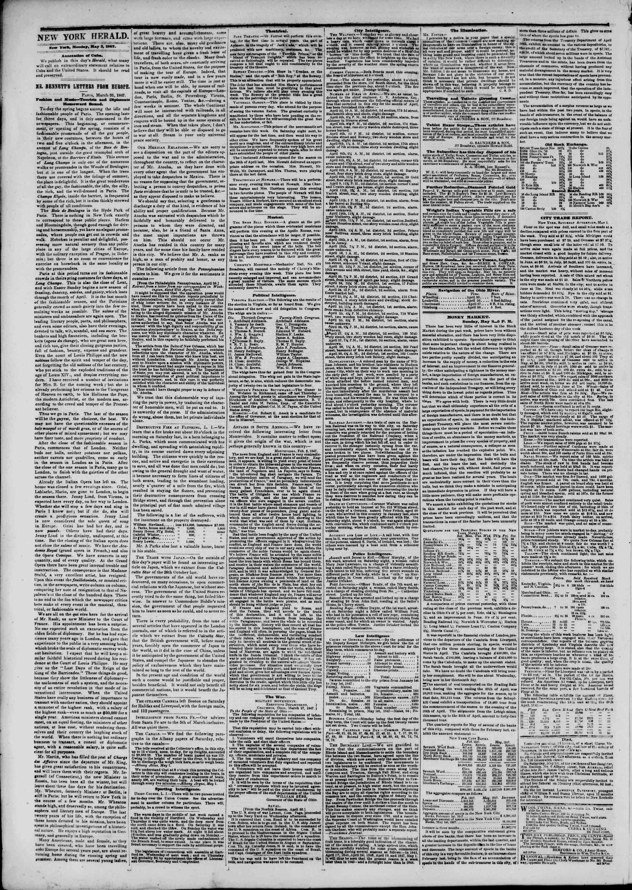 Newspaper of The New York Herald dated May 3, 1847 Page 2