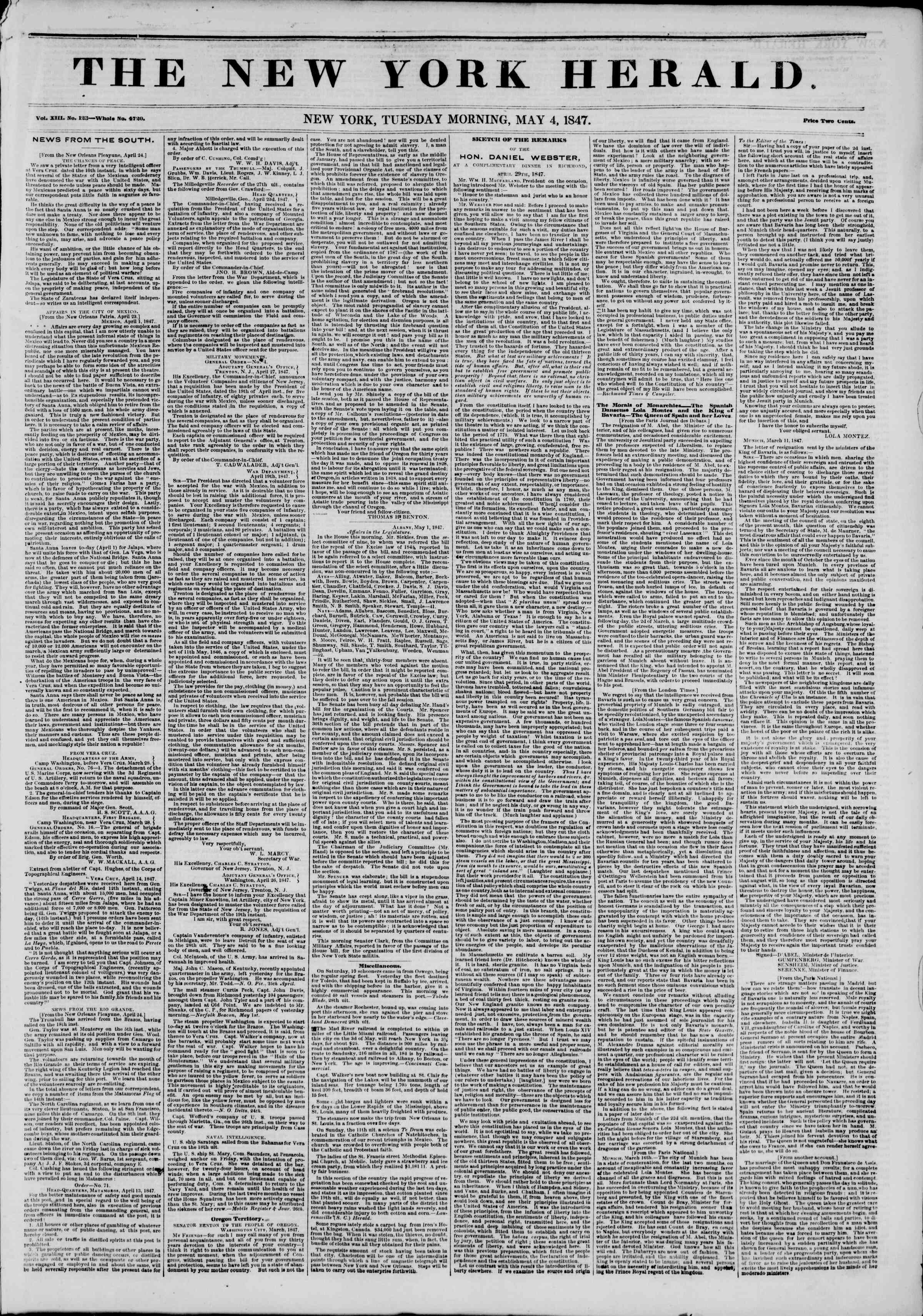 Newspaper of The New York Herald dated May 4, 1847 Page 1