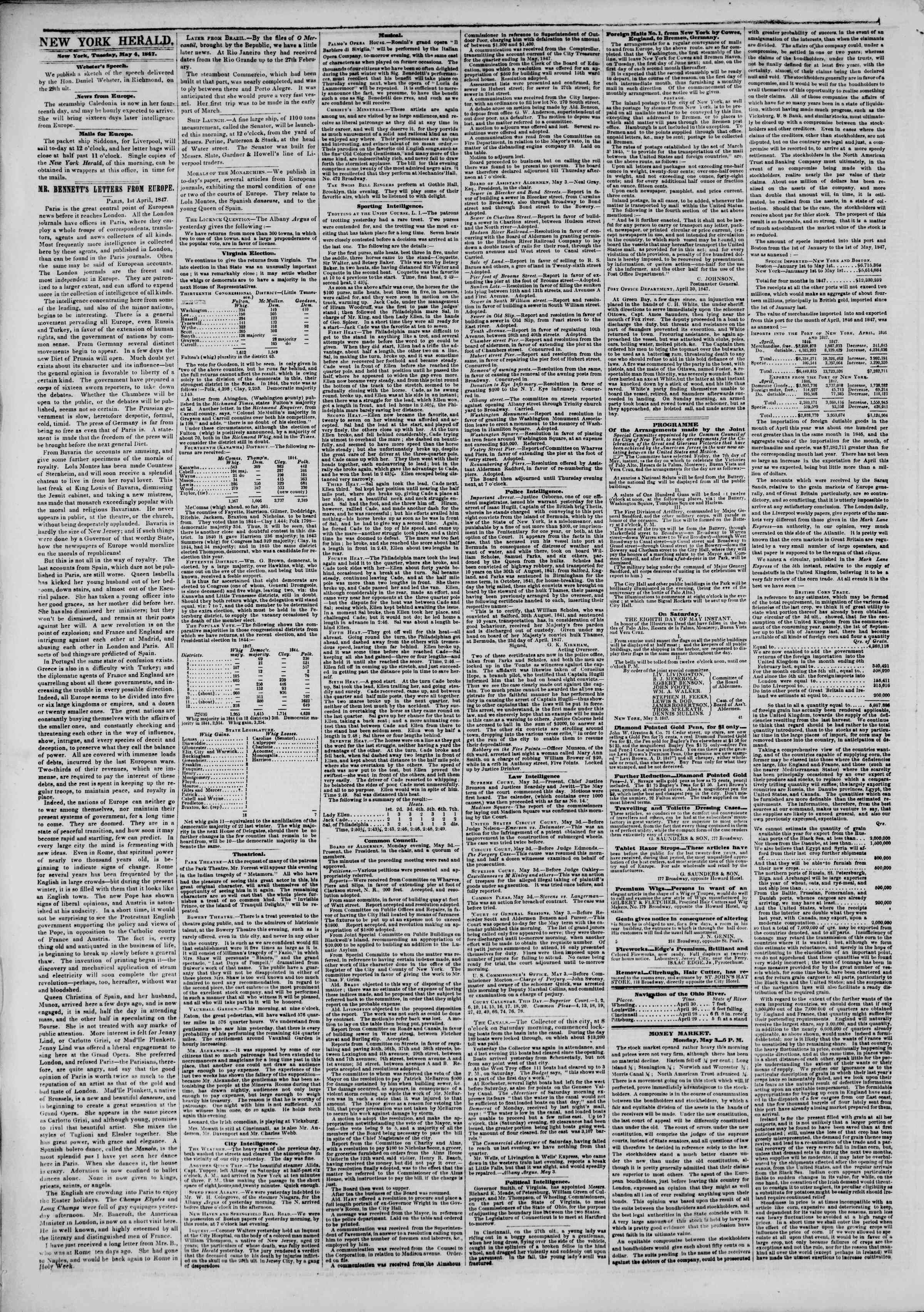 Newspaper of The New York Herald dated May 4, 1847 Page 2