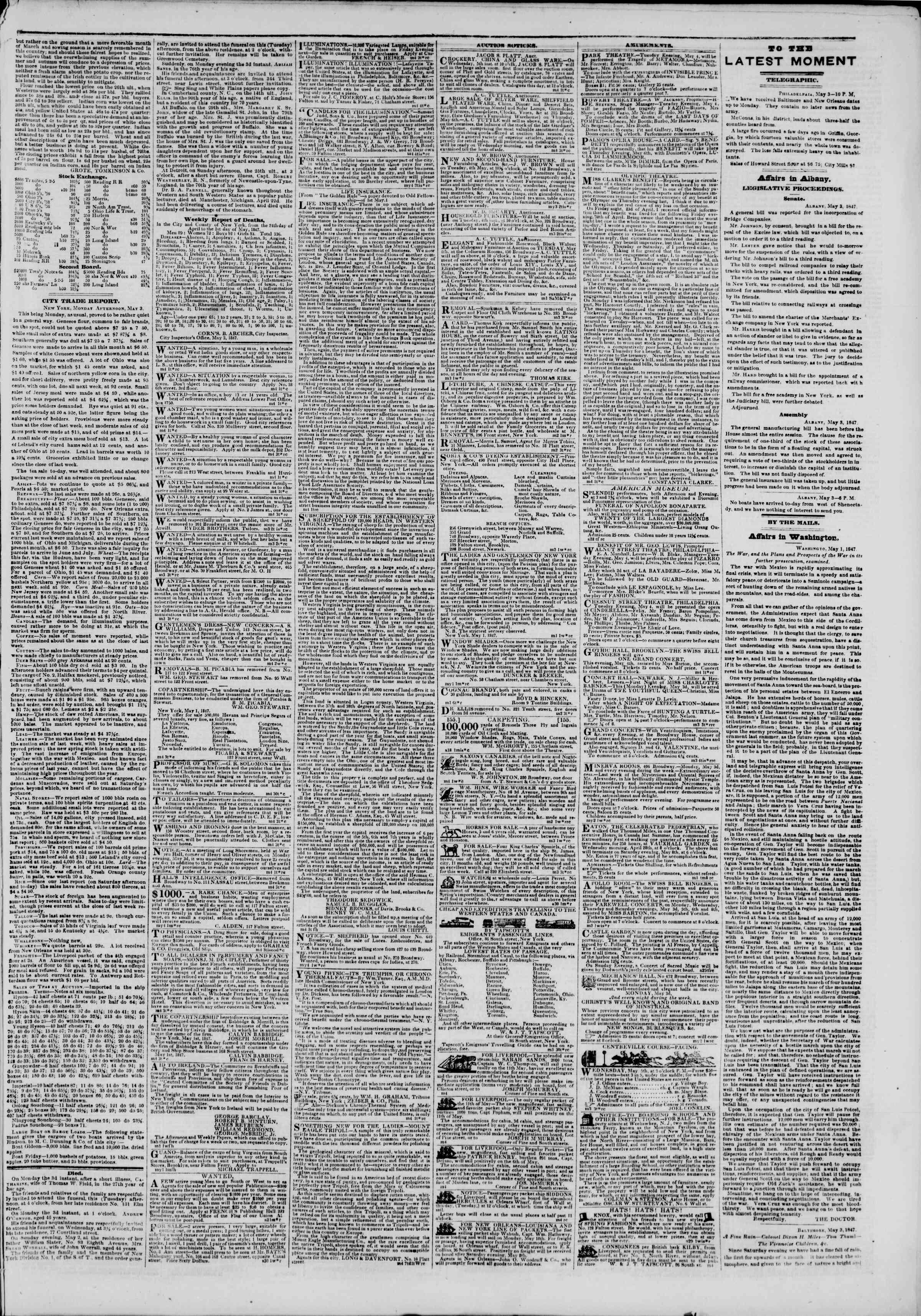 4 Mayıs 1847 tarihli The New York Herald Gazetesi Sayfa 3