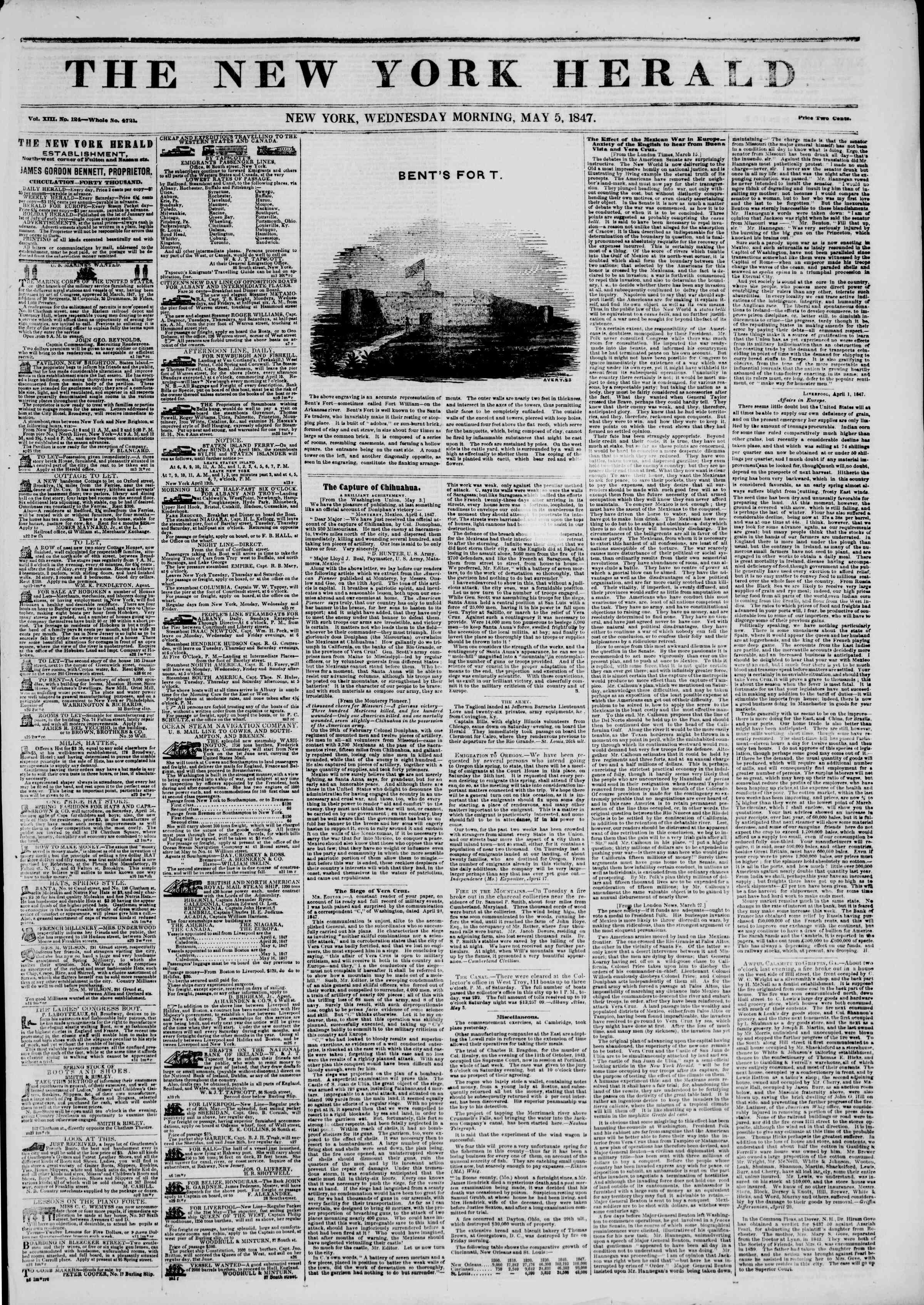 Newspaper of The New York Herald dated May 5, 1847 Page 1