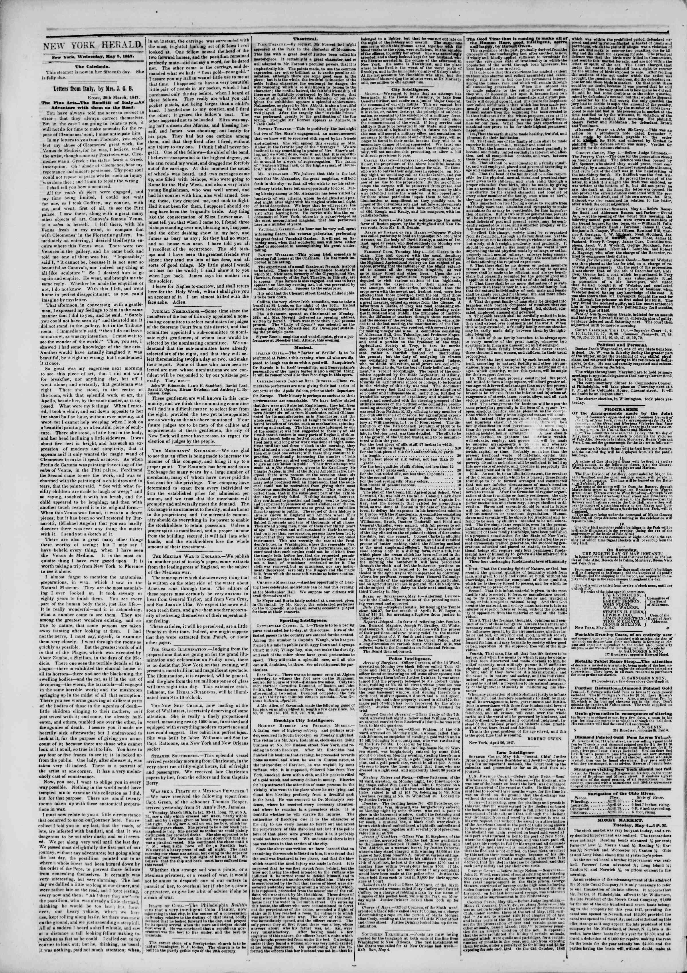 Newspaper of The New York Herald dated May 5, 1847 Page 2