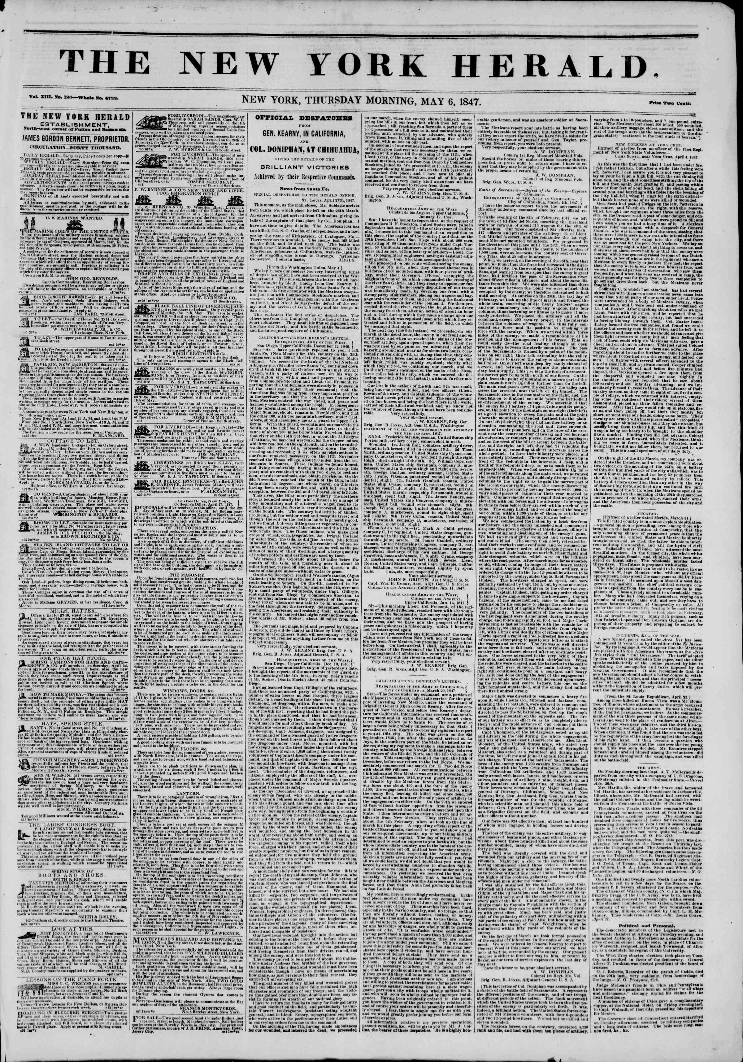 Newspaper of The New York Herald dated May 6, 1847 Page 1