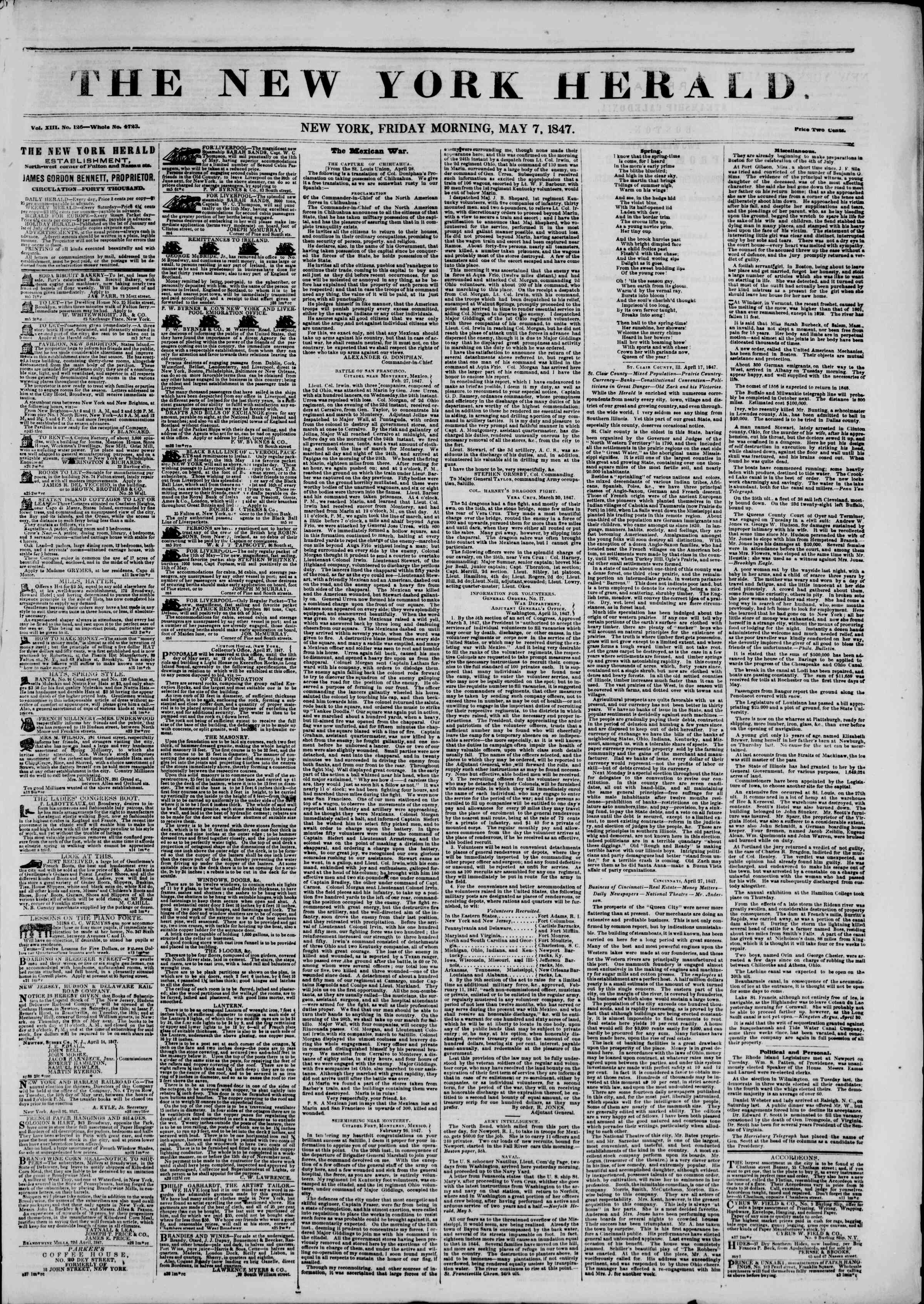 Newspaper of The New York Herald dated May 7, 1847 Page 1