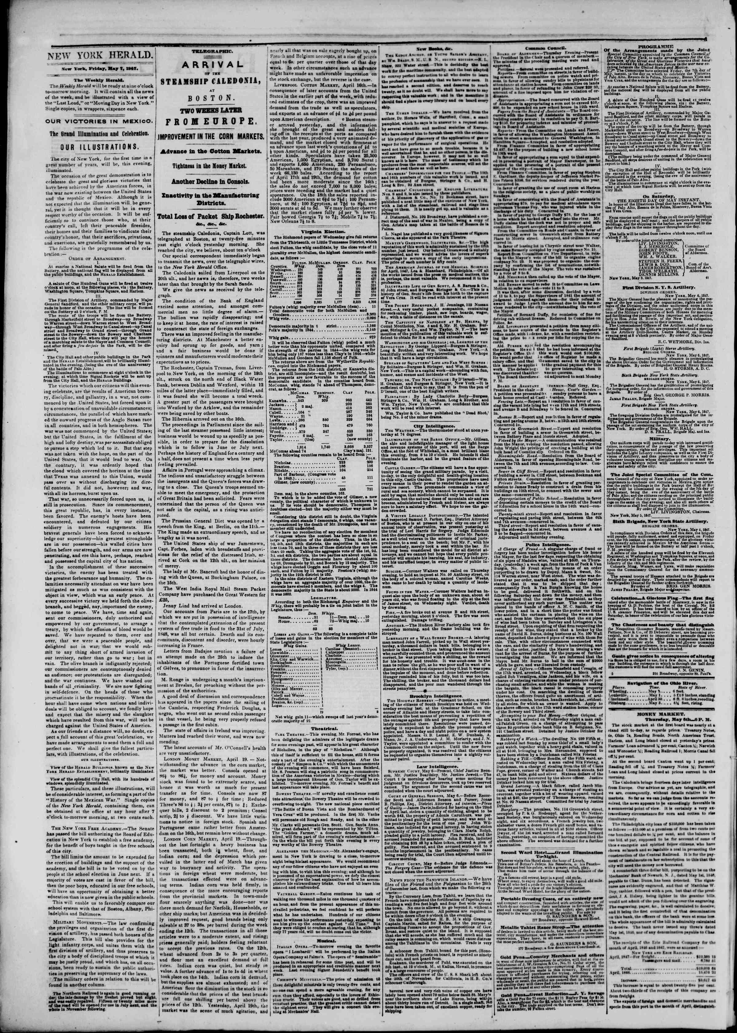 Newspaper of The New York Herald dated May 7, 1847 Page 2