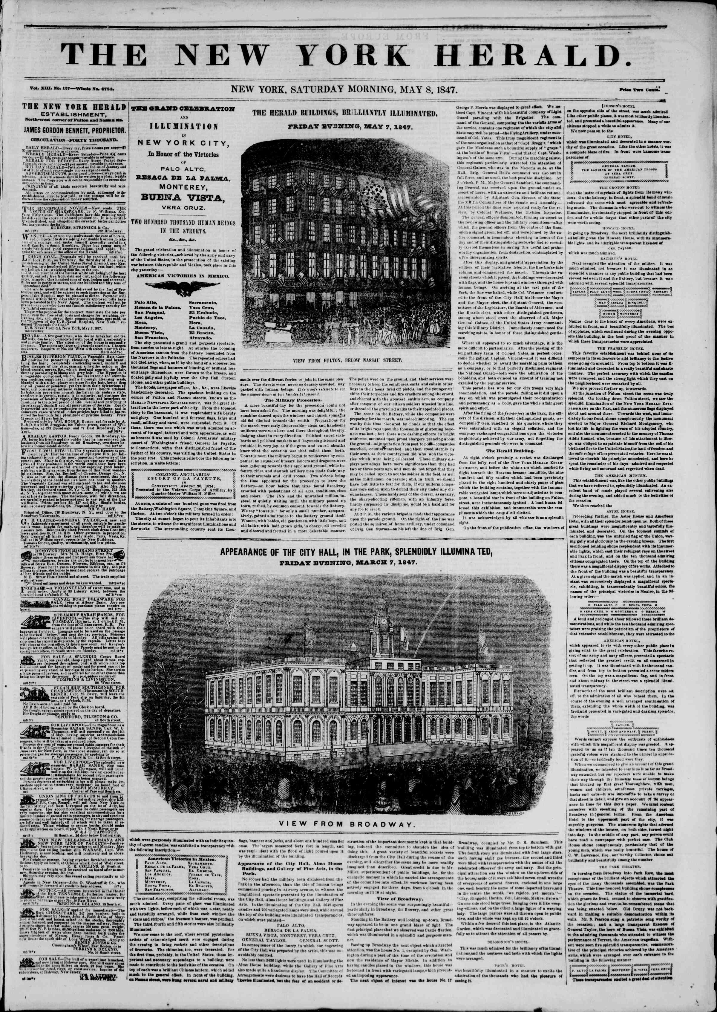 Newspaper of The New York Herald dated May 8, 1847 Page 1
