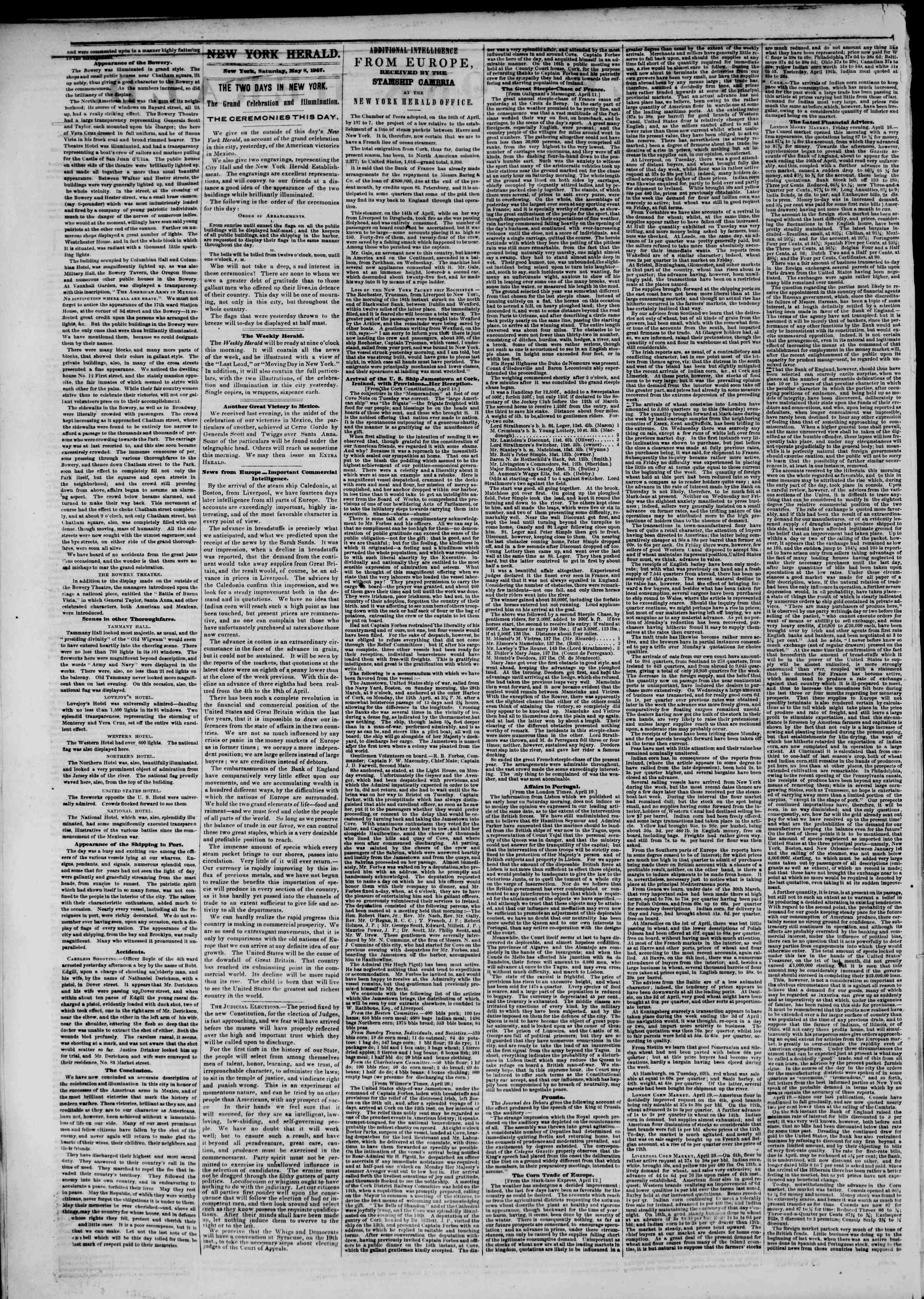 Newspaper of The New York Herald dated May 8, 1847 Page 2