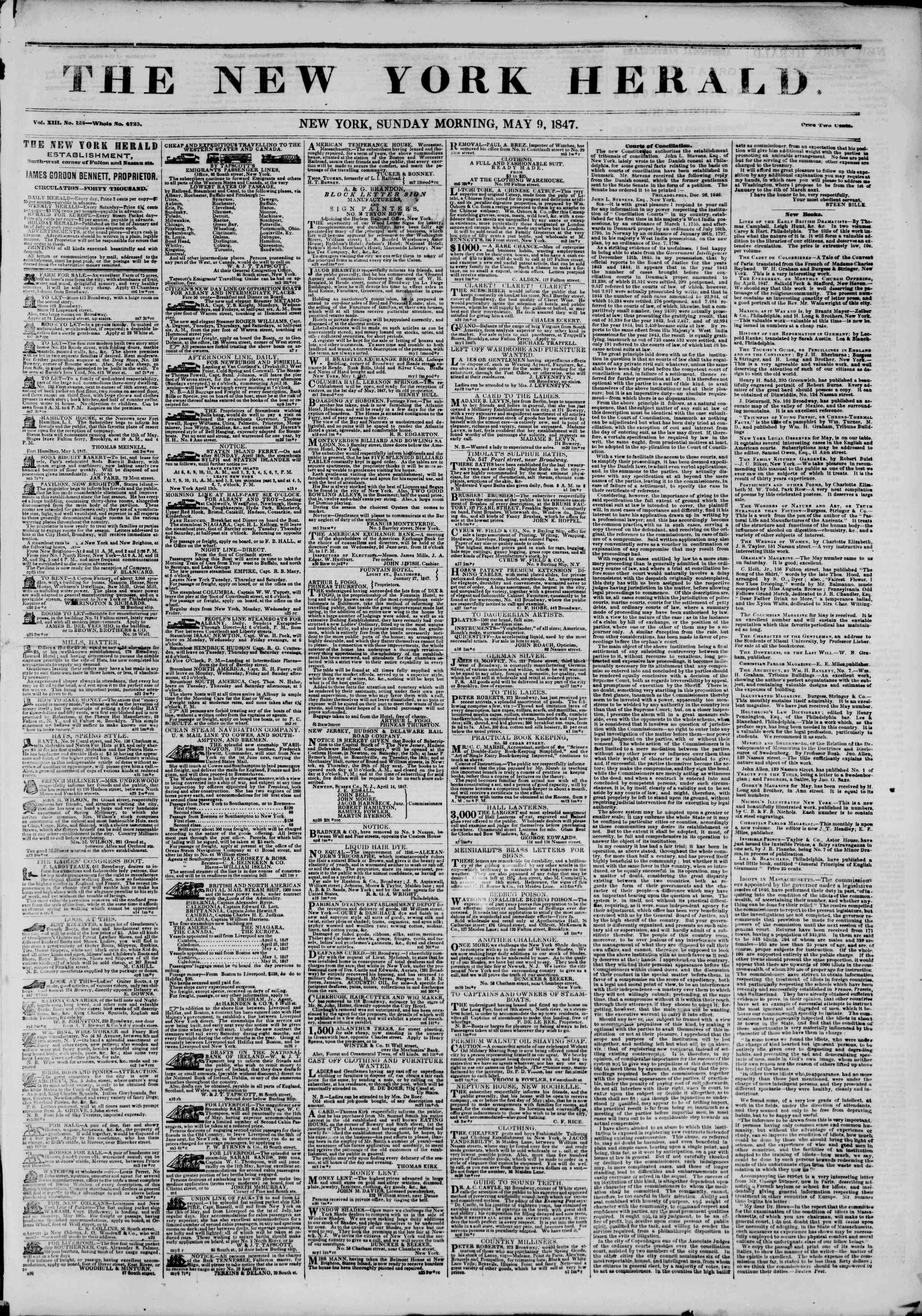 Newspaper of The New York Herald dated May 9, 1847 Page 1