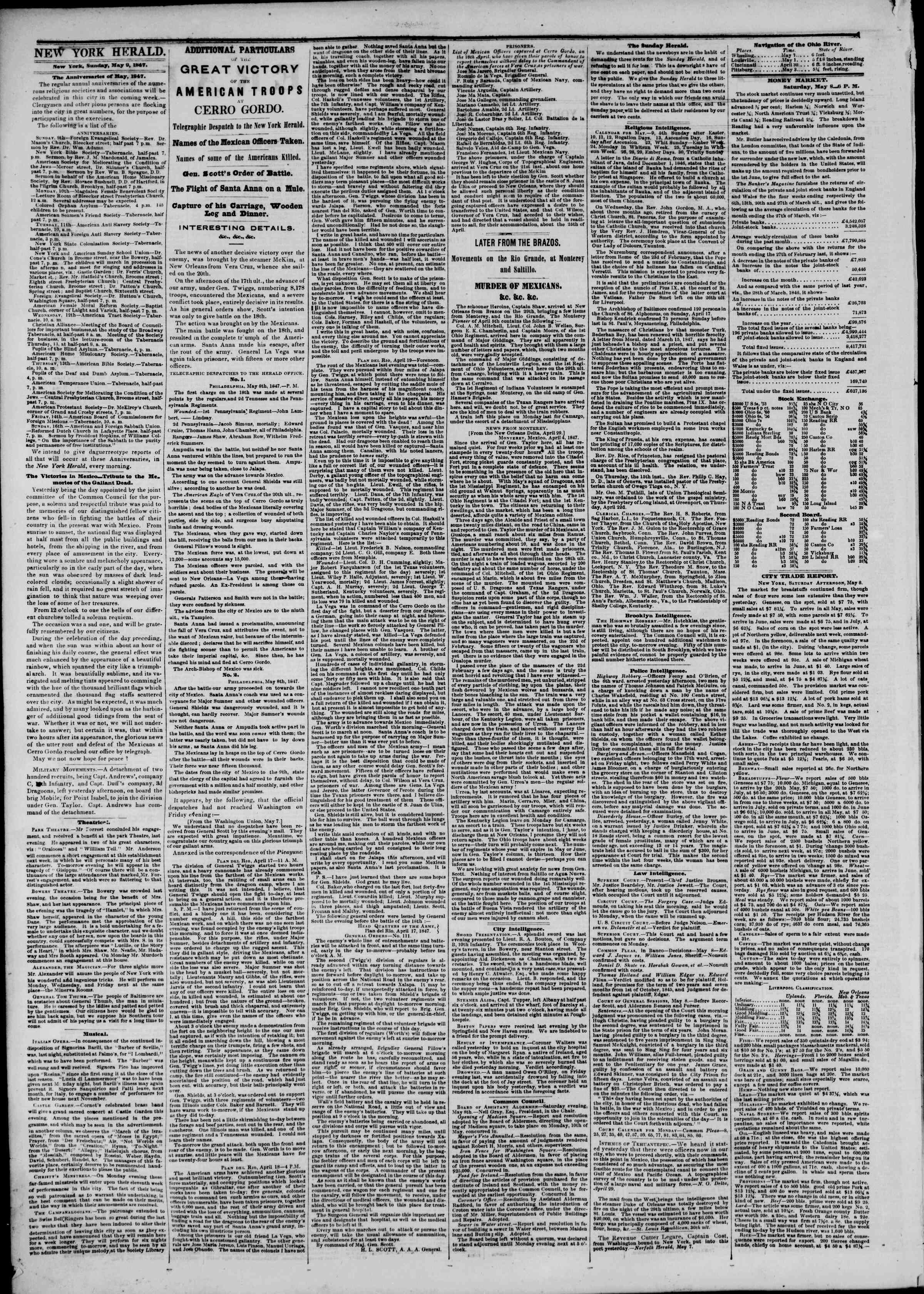 Newspaper of The New York Herald dated May 9, 1847 Page 2