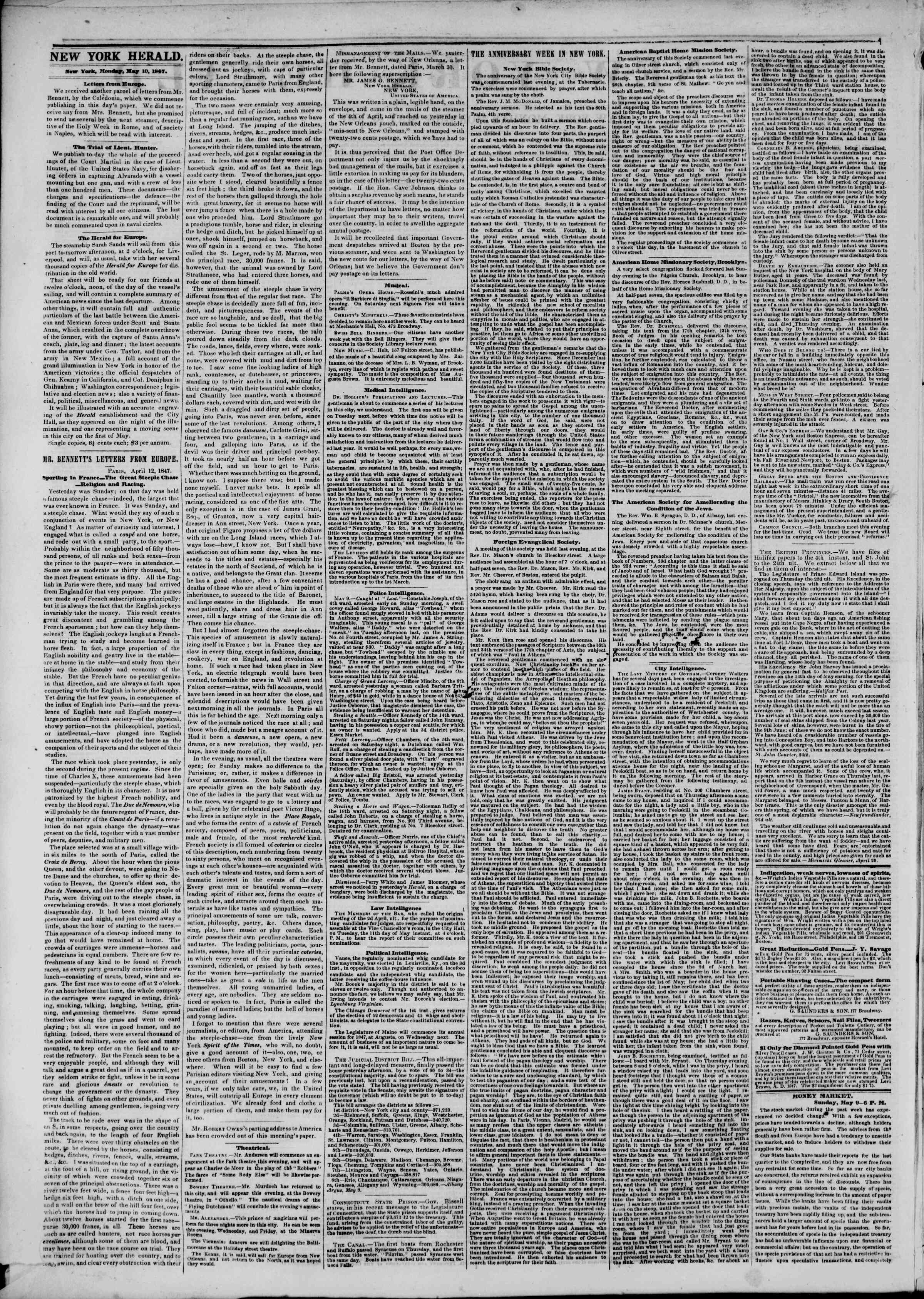 Newspaper of The New York Herald dated May 10, 1847 Page 2