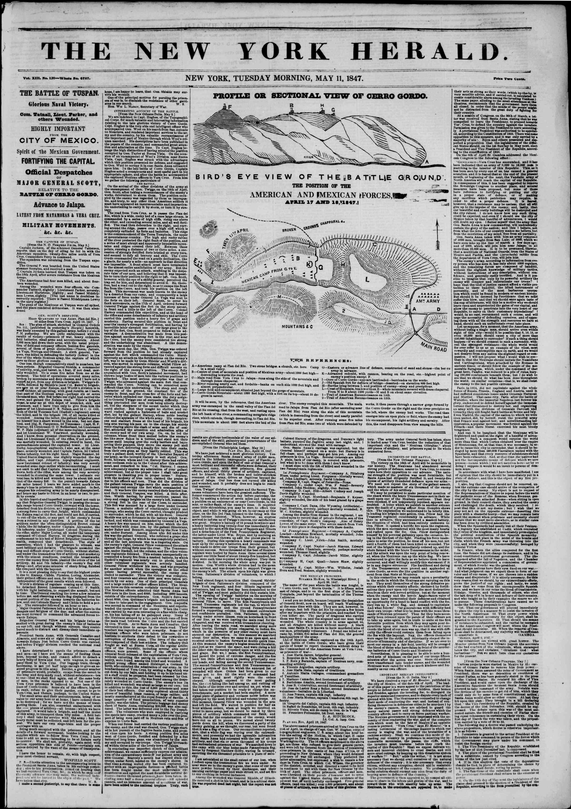 Newspaper of The New York Herald dated May 11, 1847 Page 1