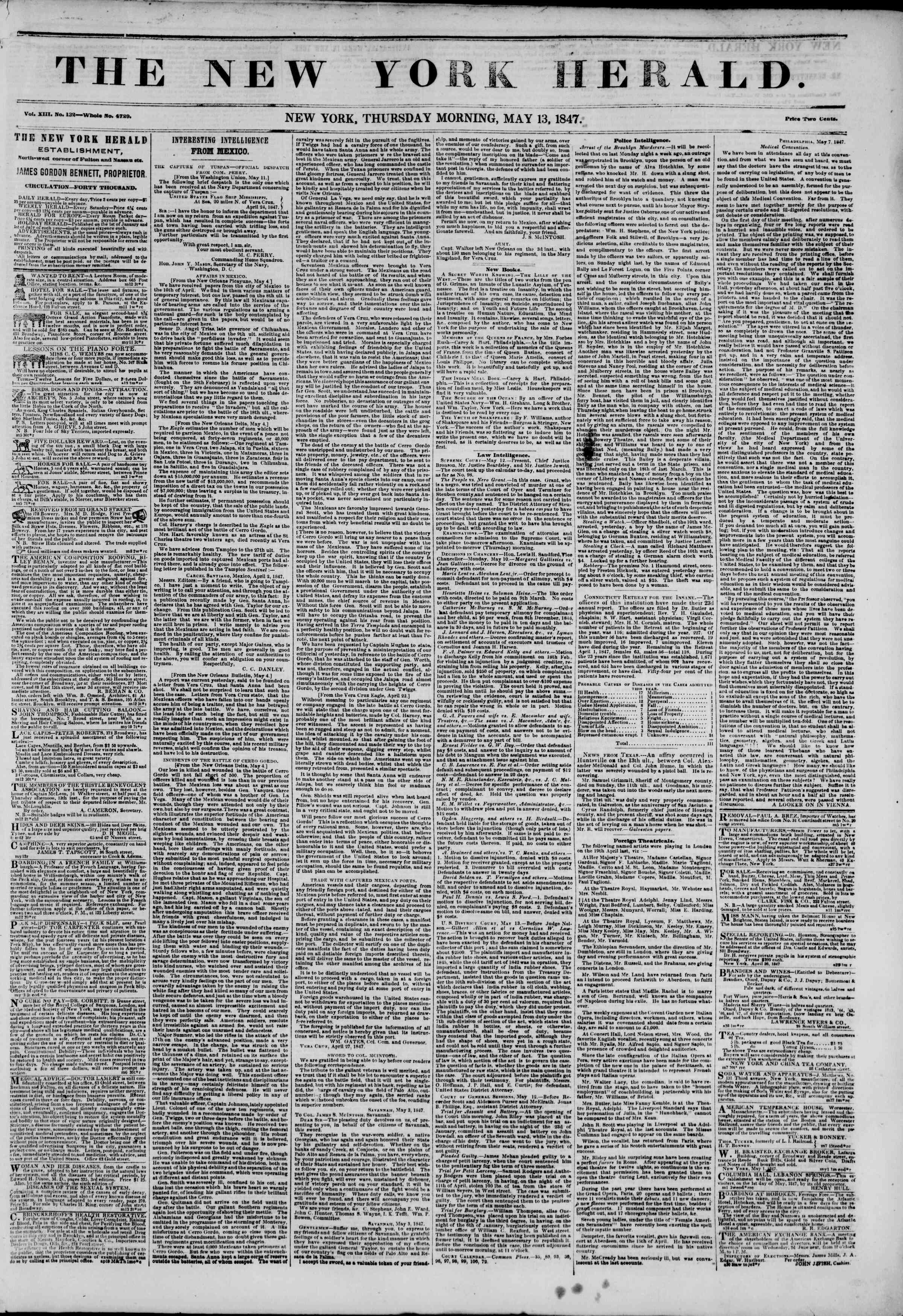 13 Mayıs 1847 tarihli The New York Herald Gazetesi Sayfa 1