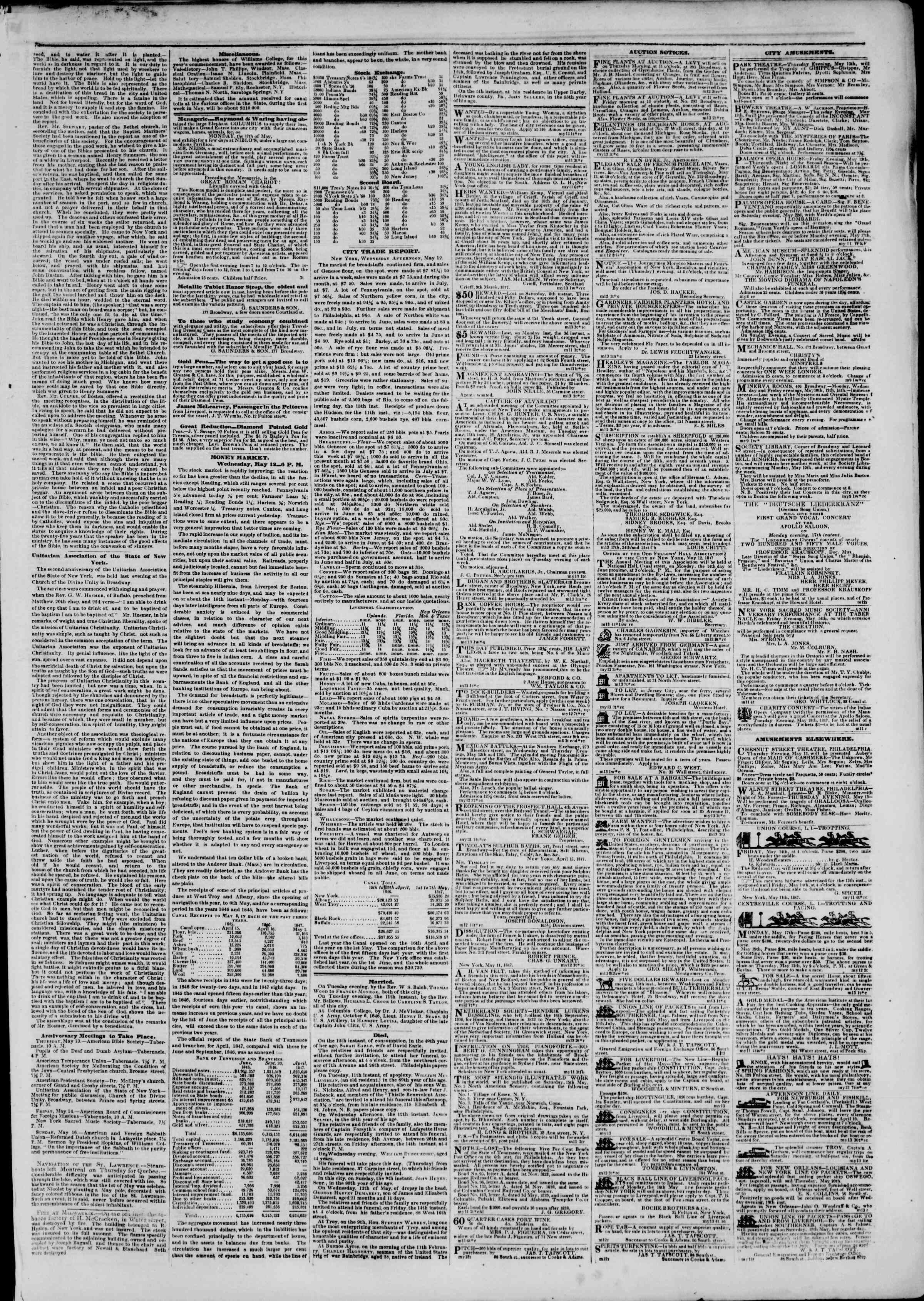 Newspaper of The New York Herald dated May 13, 1847 Page 3