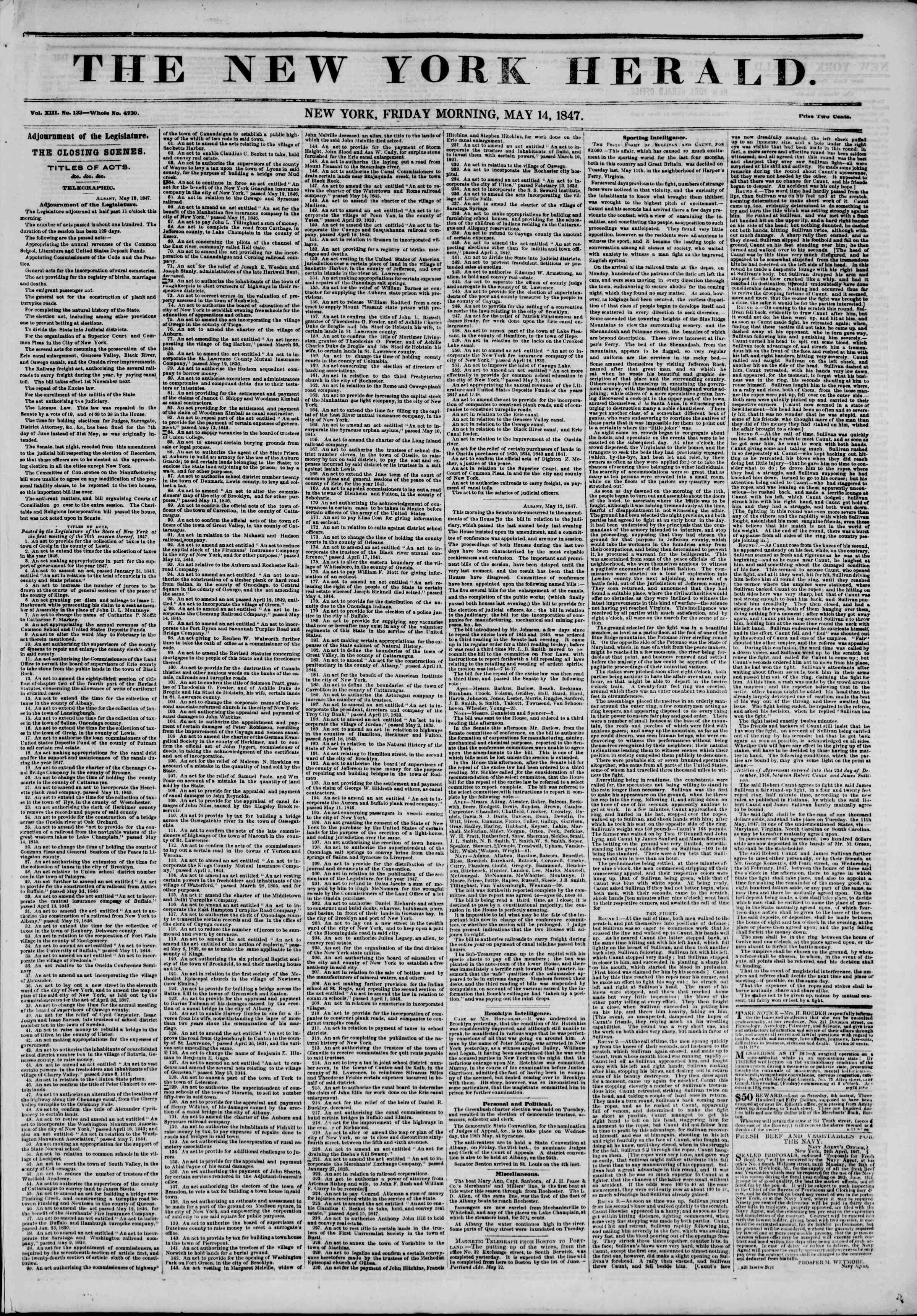 Newspaper of The New York Herald dated May 14, 1847 Page 1
