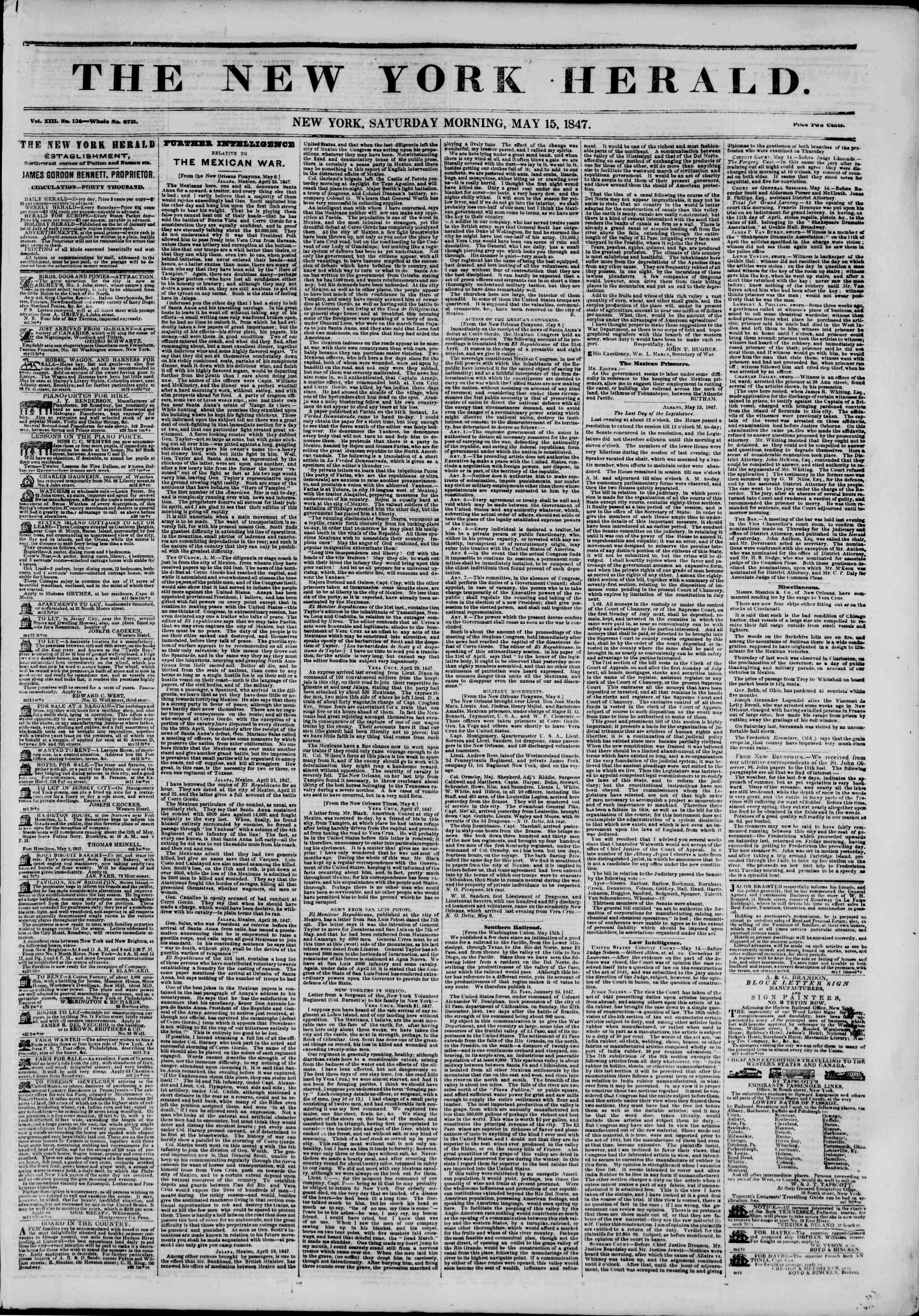 Newspaper of The New York Herald dated May 15, 1847 Page 1