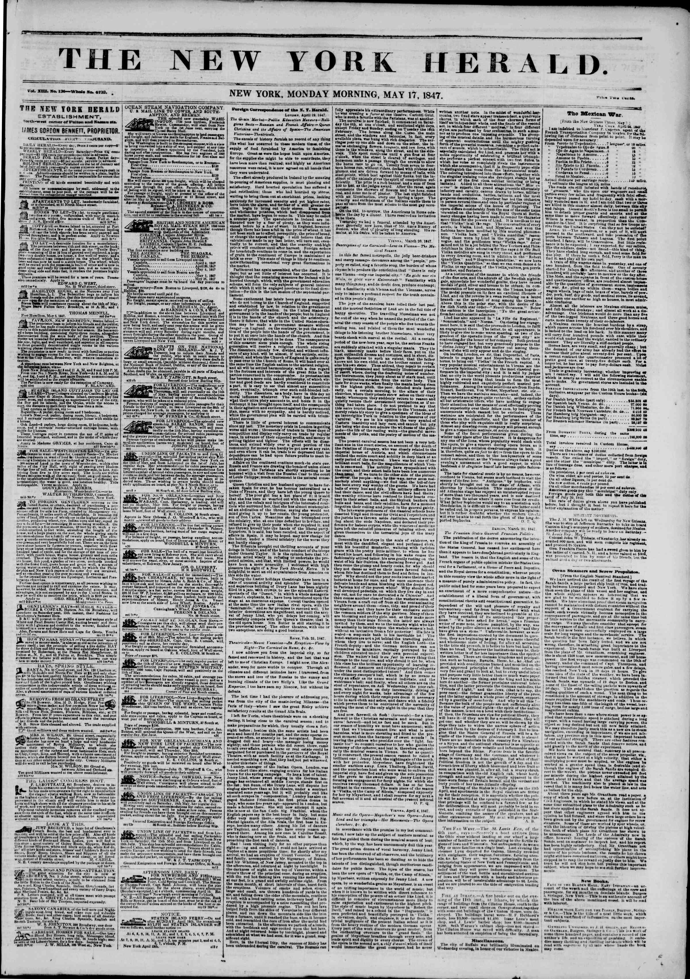 Newspaper of The New York Herald dated May 17, 1847 Page 1