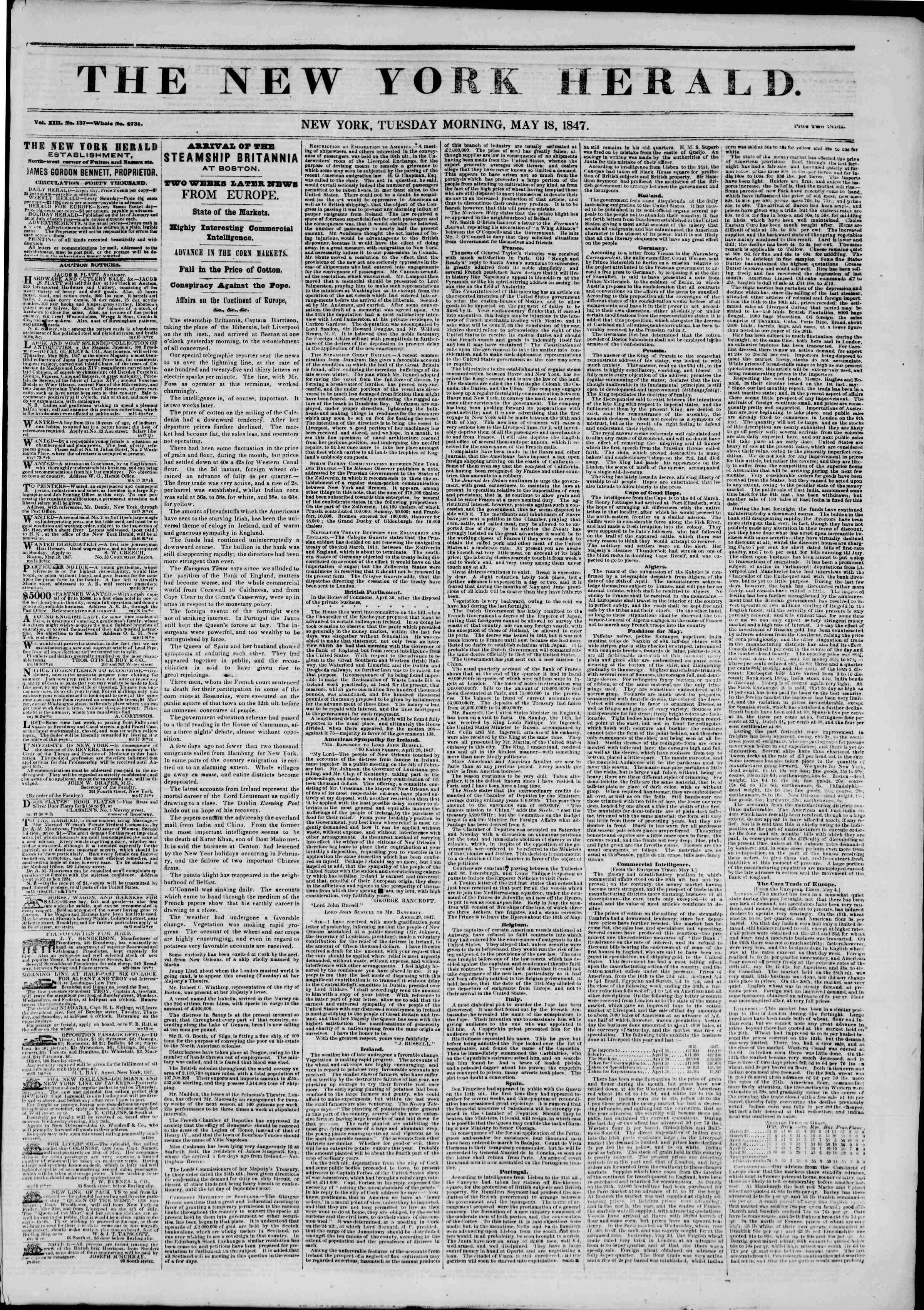 Newspaper of The New York Herald dated May 18, 1847 Page 1
