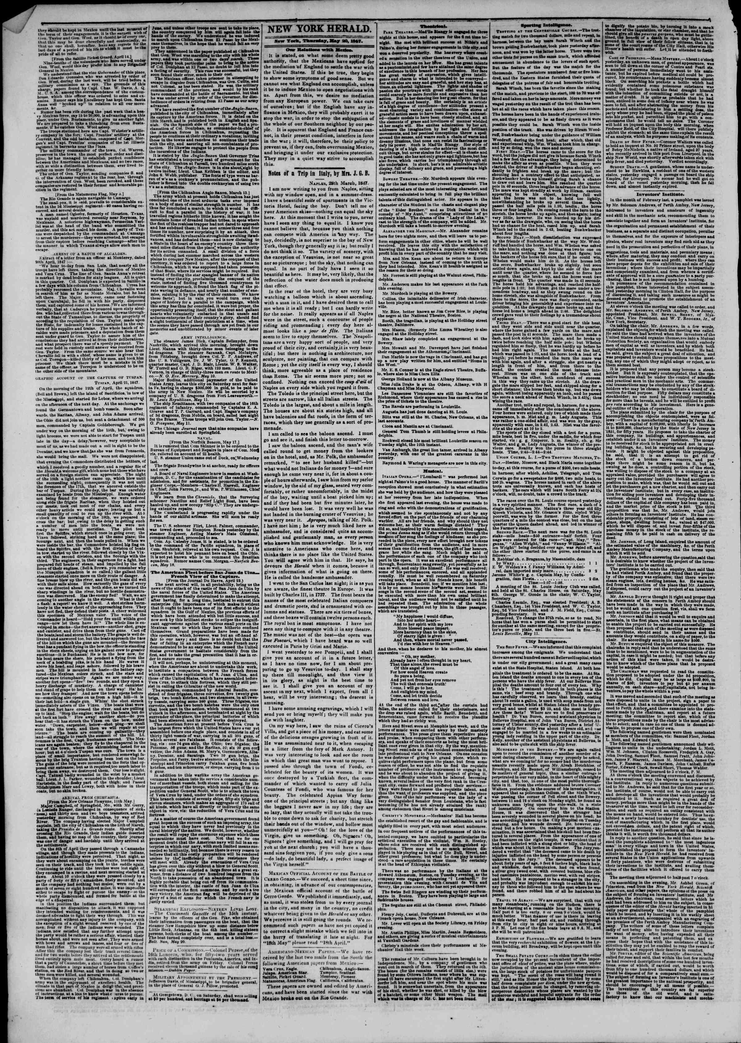 Newspaper of The New York Herald dated May 20, 1847 Page 2